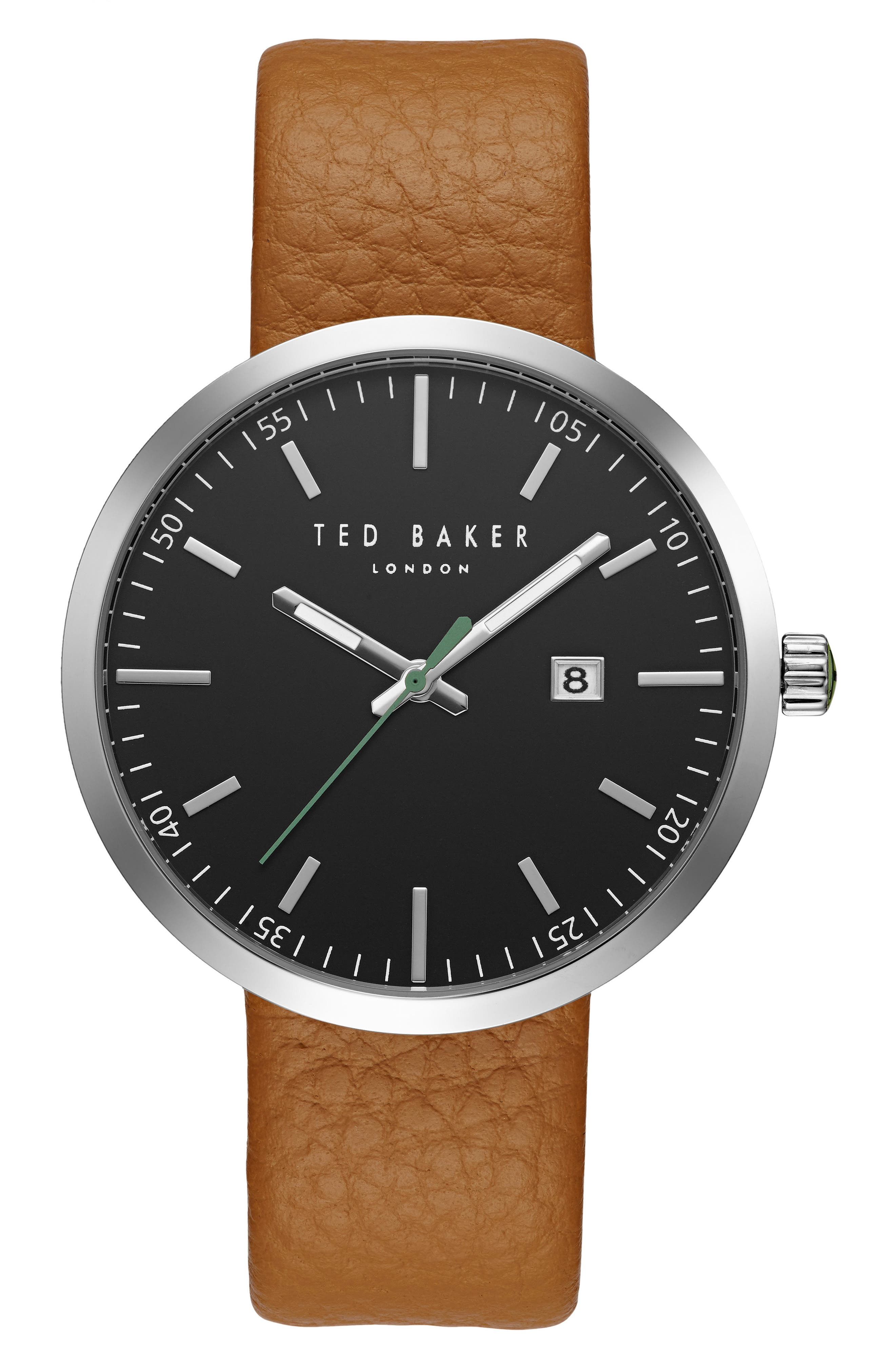 Main Image - Ted Baker London Jack Round Leather Strap Watch, 40mm
