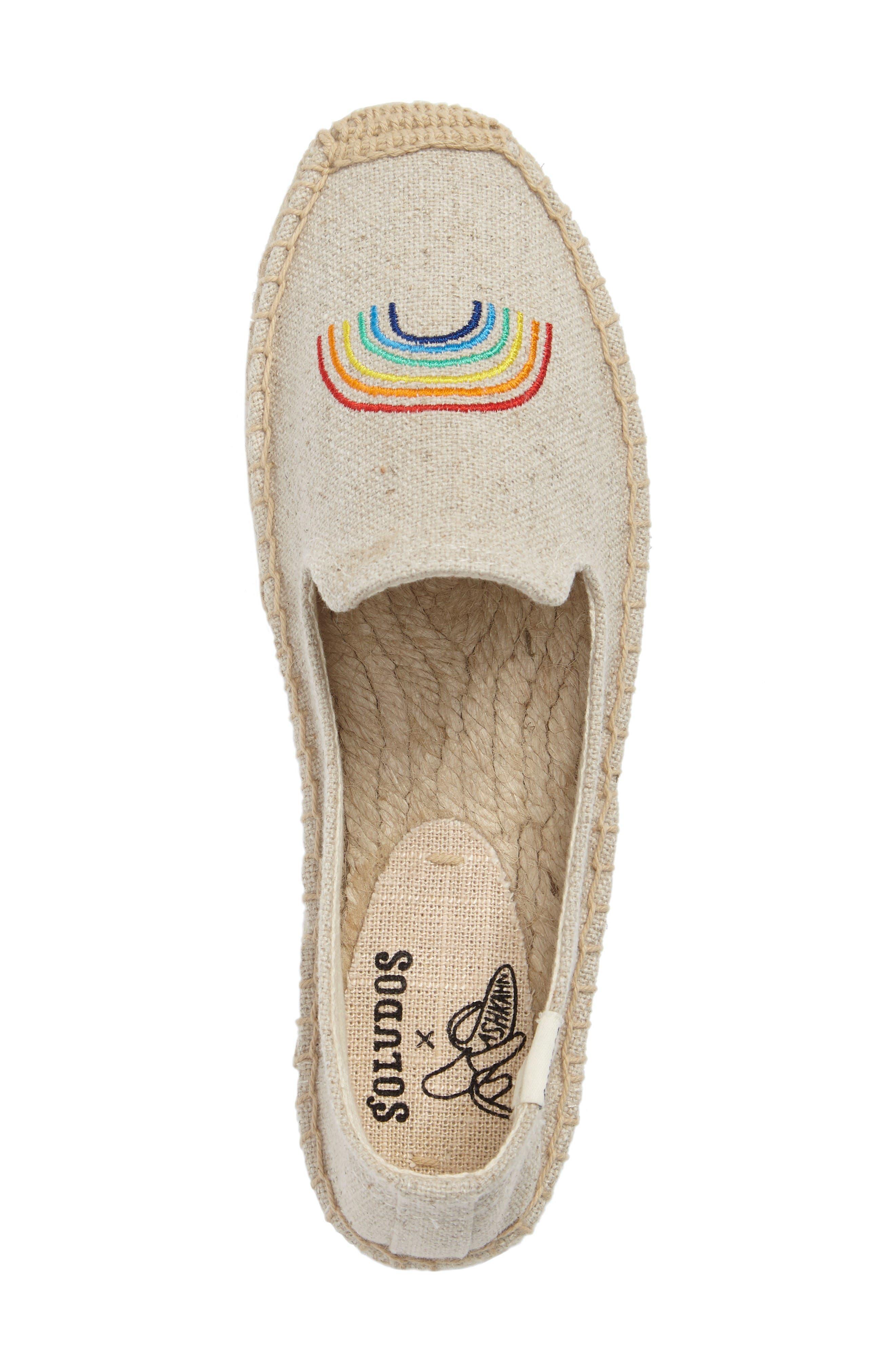 X ASHKAHN Rainbow Embroidered Platform Espadrille,                             Alternate thumbnail 5, color,                             Sand Canvas