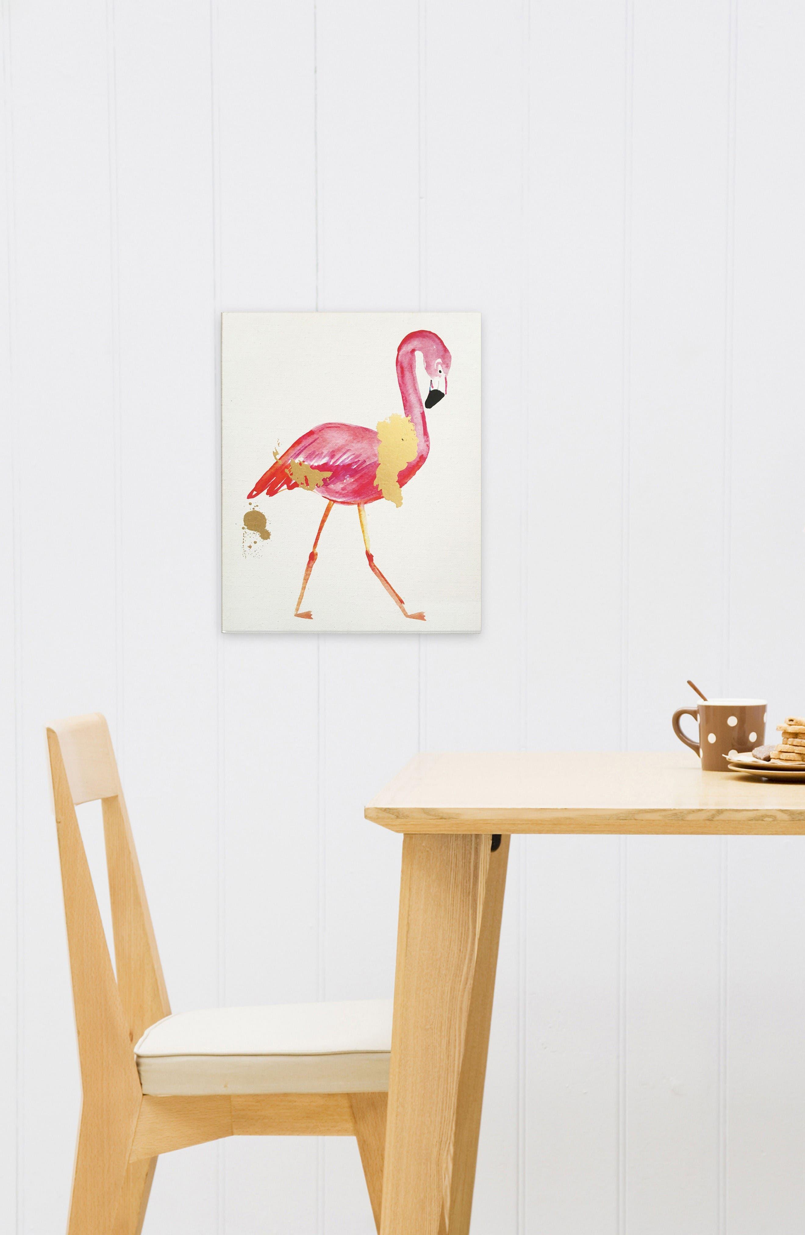 Wynwood Glam Flamingo Canvas Wall Art,                             Alternate thumbnail 2, color,                             Beige