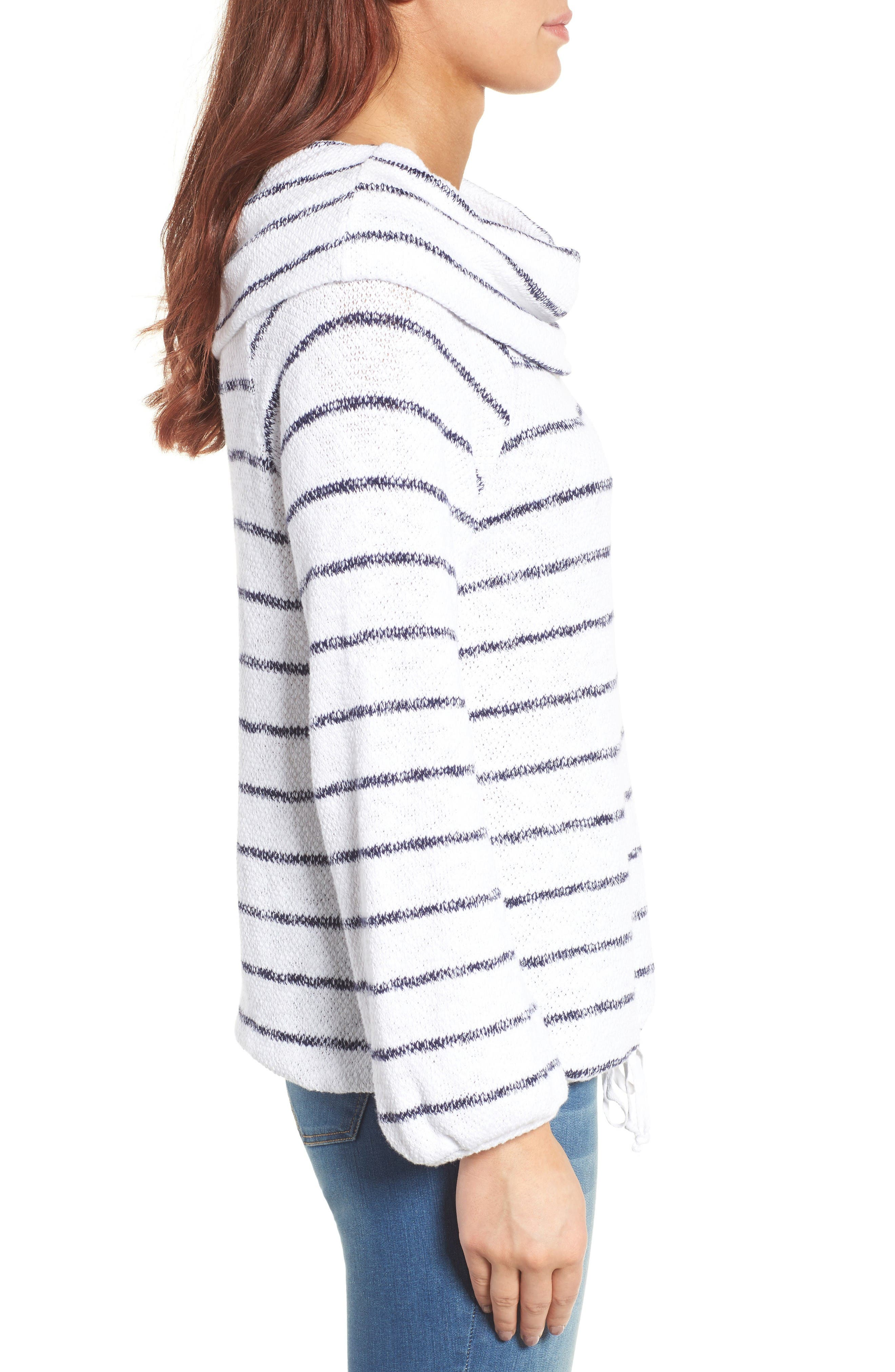 Convertible Off the Shoulder Pullover,                             Alternate thumbnail 5, color,                             White- Navy Stripe