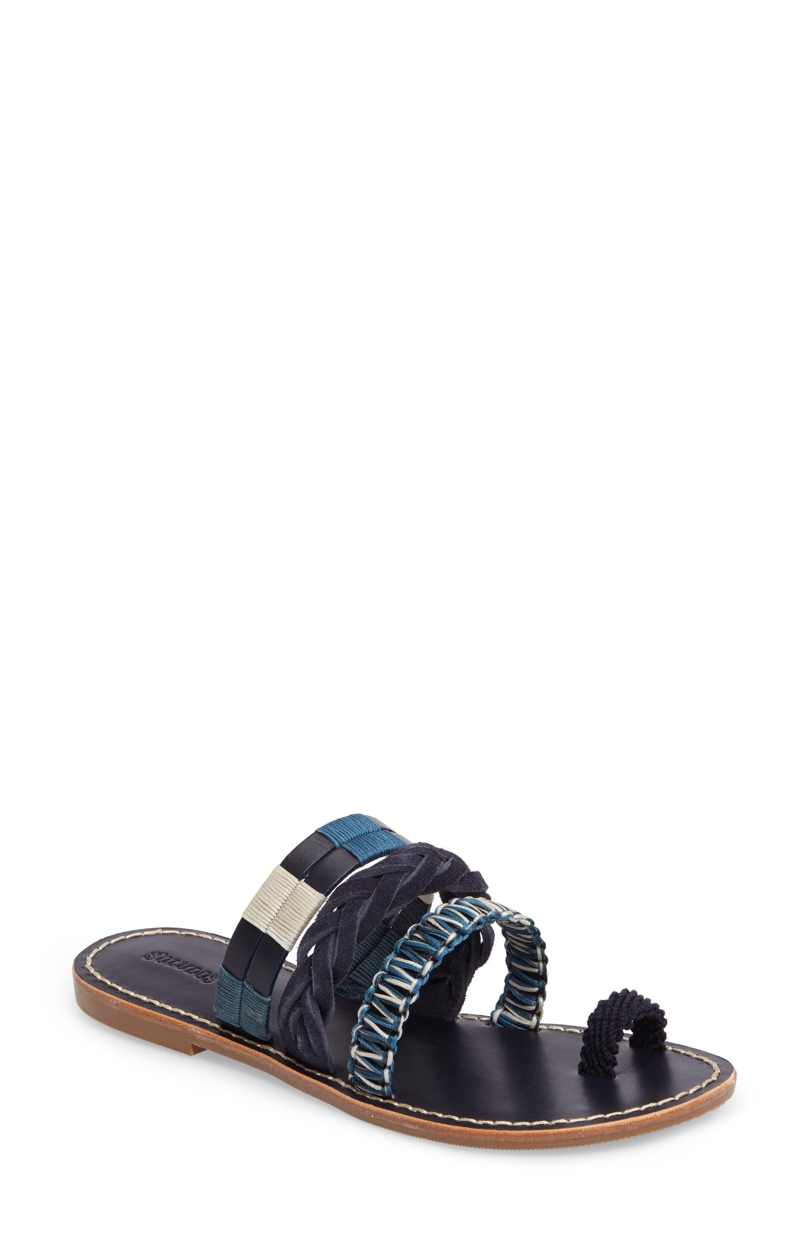 Slide Sandal,                             Main thumbnail 1, color,                             Midnight/ Blue Multi Leather