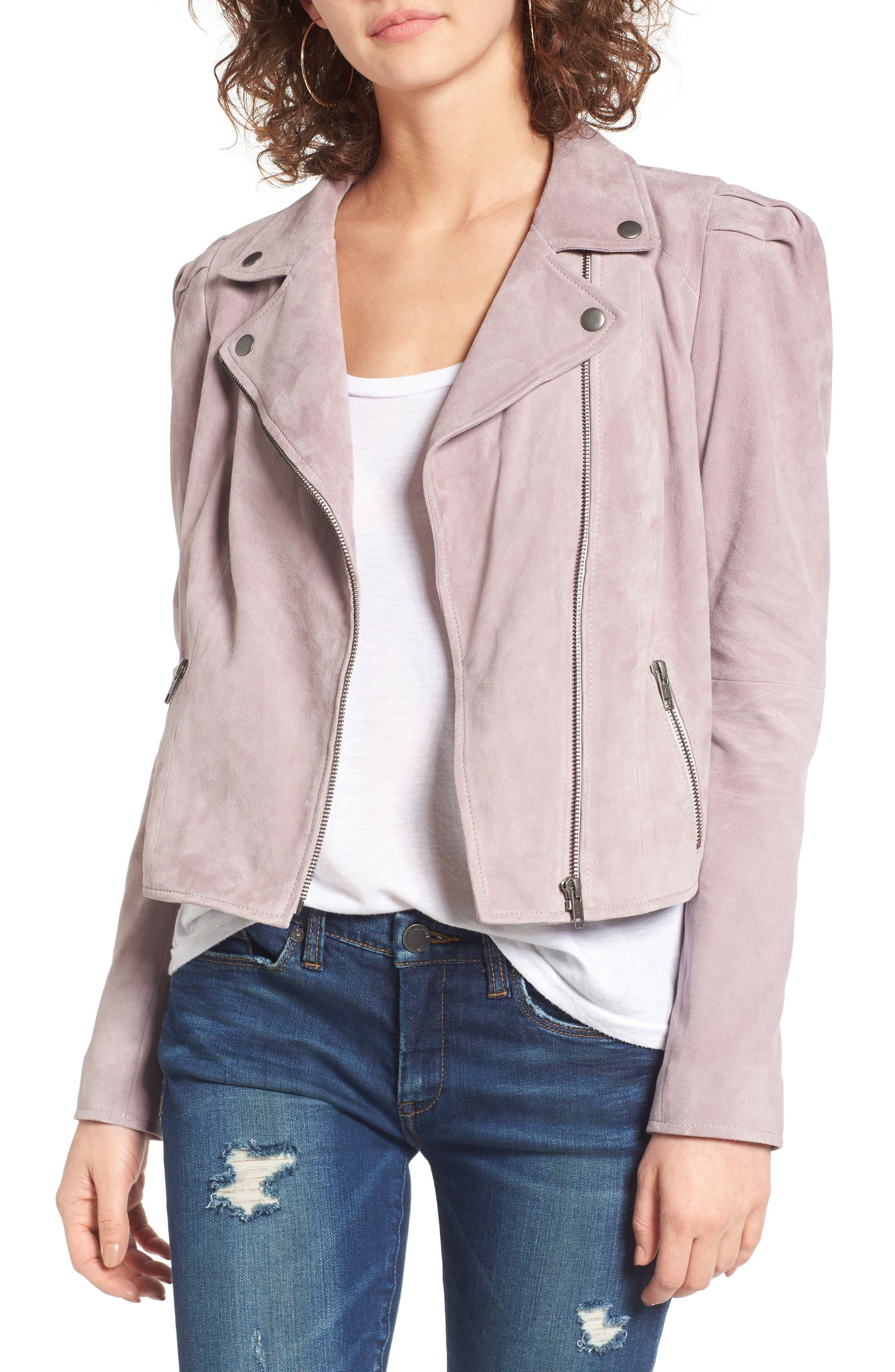 Suede Moto Jacket,                             Main thumbnail 1, color,                             Purple Quail