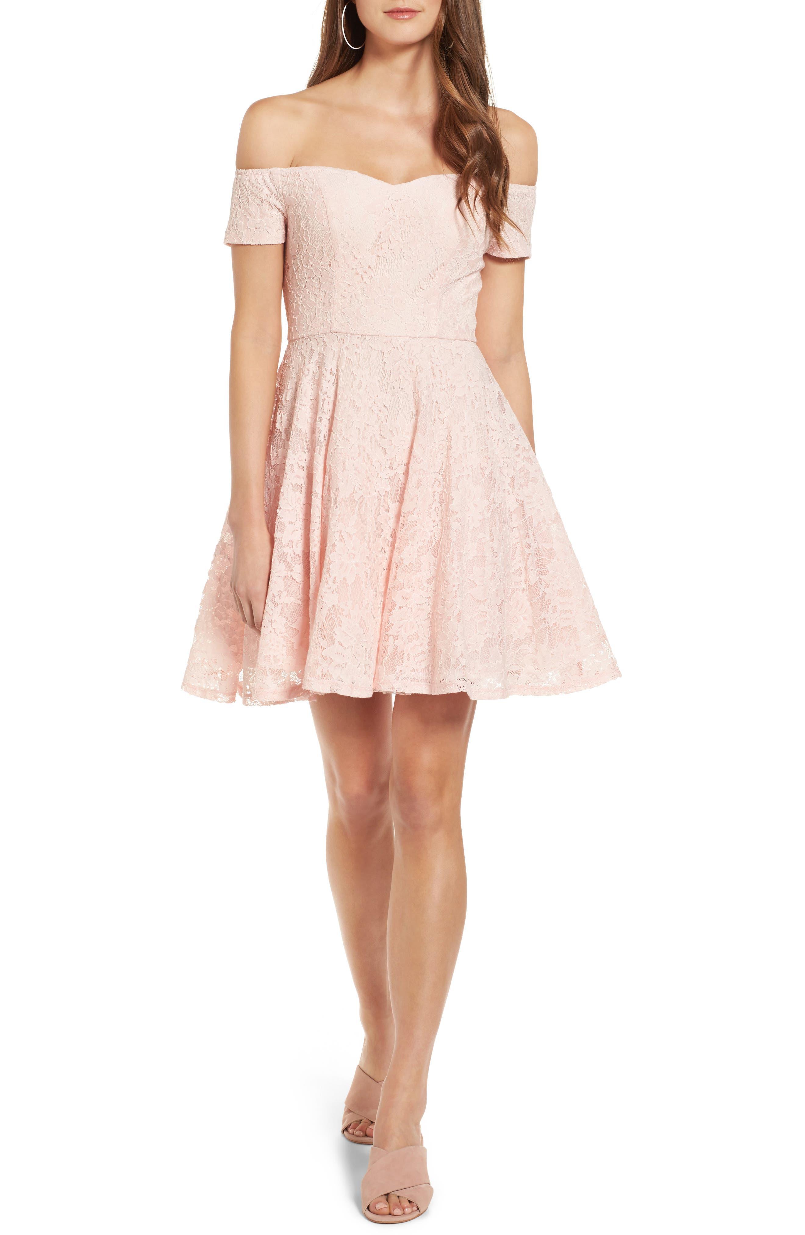 Lace Off the Shoulder Fit & Flare Dress,                         Main,                         color, Blush