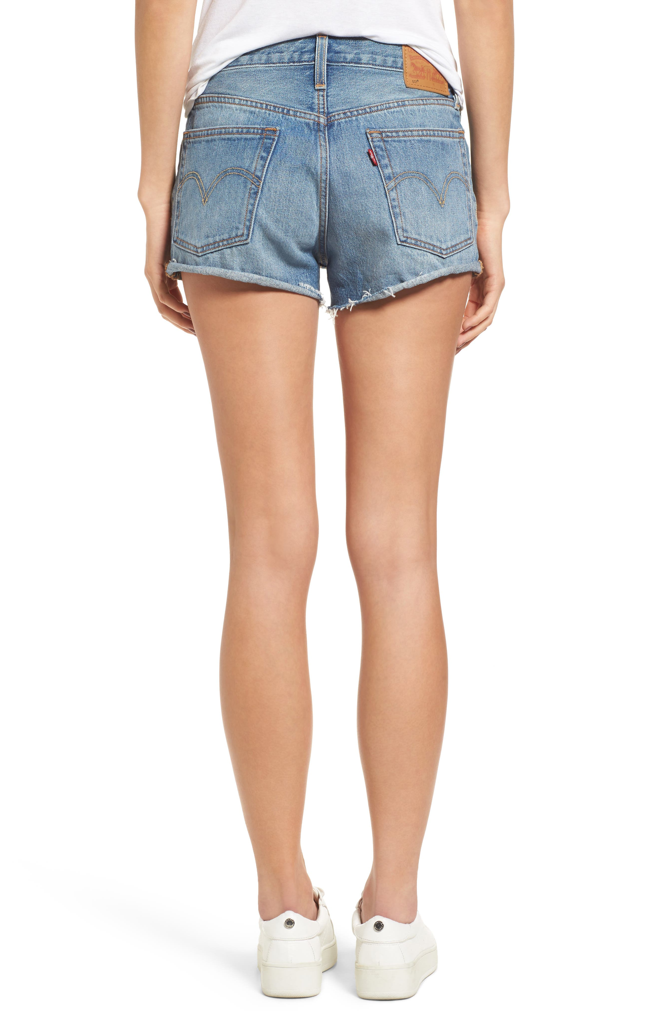 Cutoff Denim Shorts,                             Alternate thumbnail 3, color,                             Blue Explorer