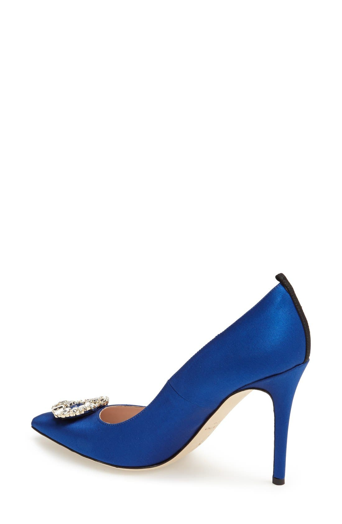 'Maddalena' Pointy Toe Pump,                             Alternate thumbnail 2, color,                             Blue Satin
