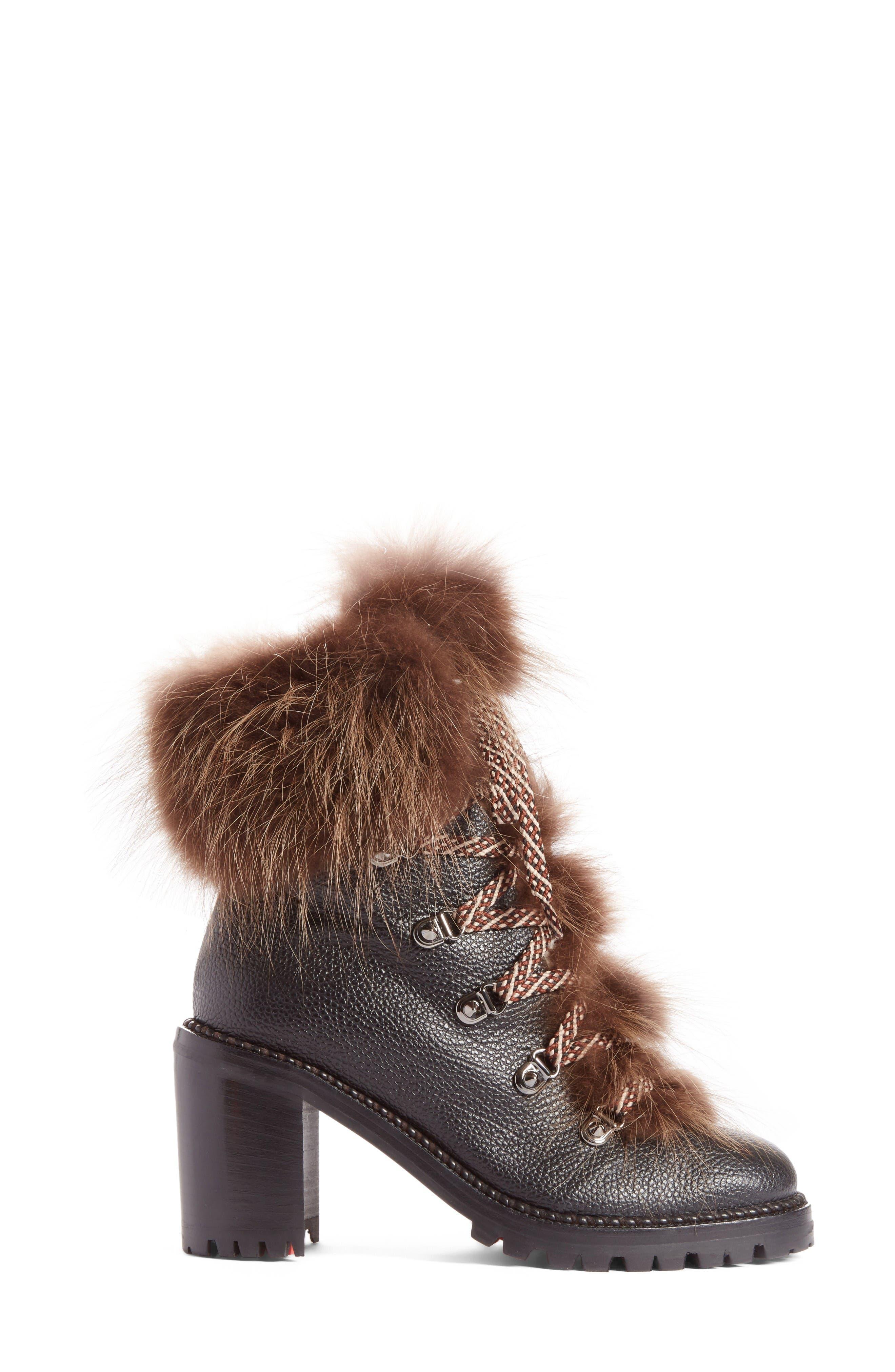 Fanny Genuine Fur Boot,                             Alternate thumbnail 4, color,                             Black Leather