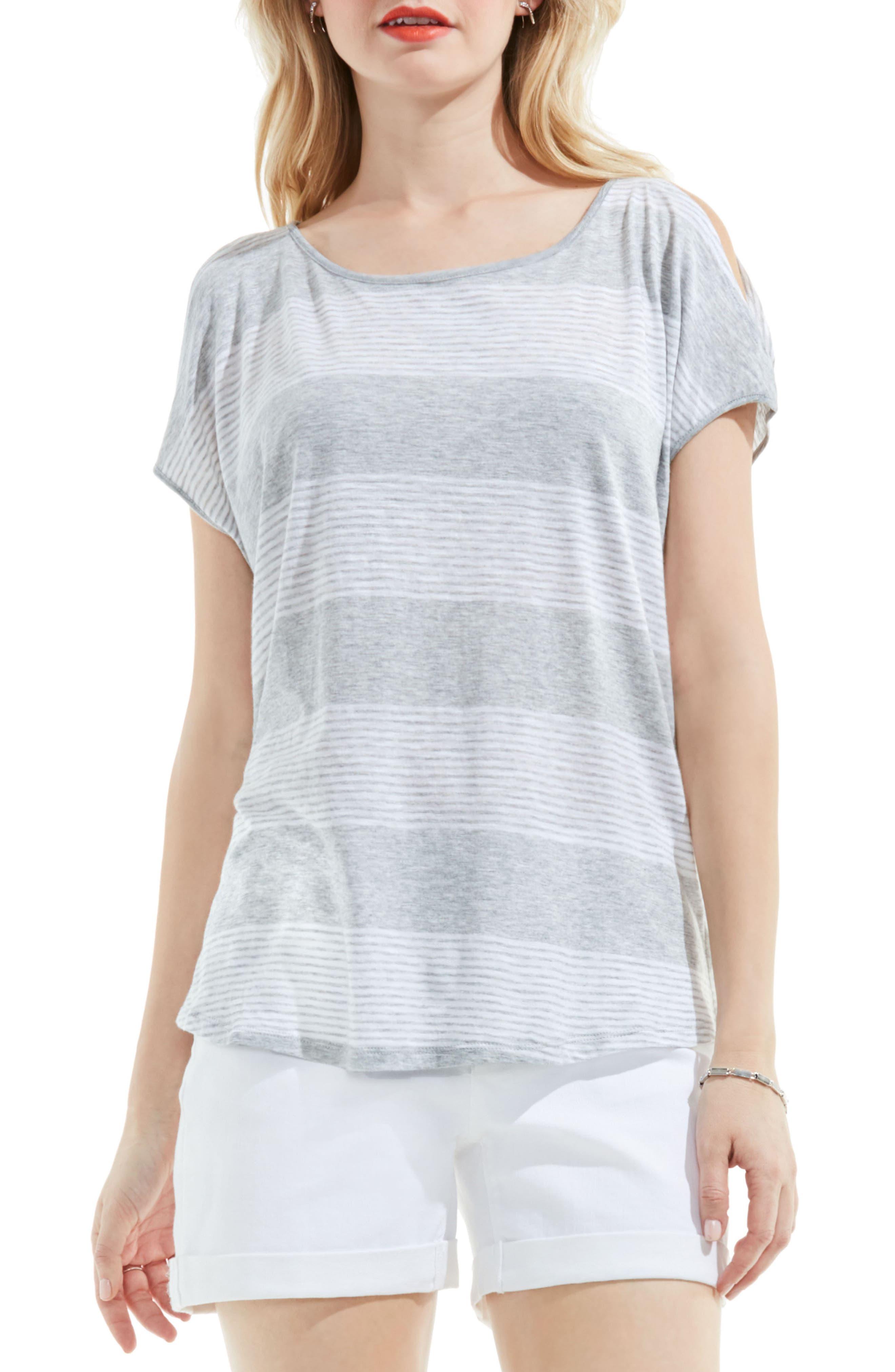 Block Stripe Tee,                             Main thumbnail 1, color,                             Grey Heather