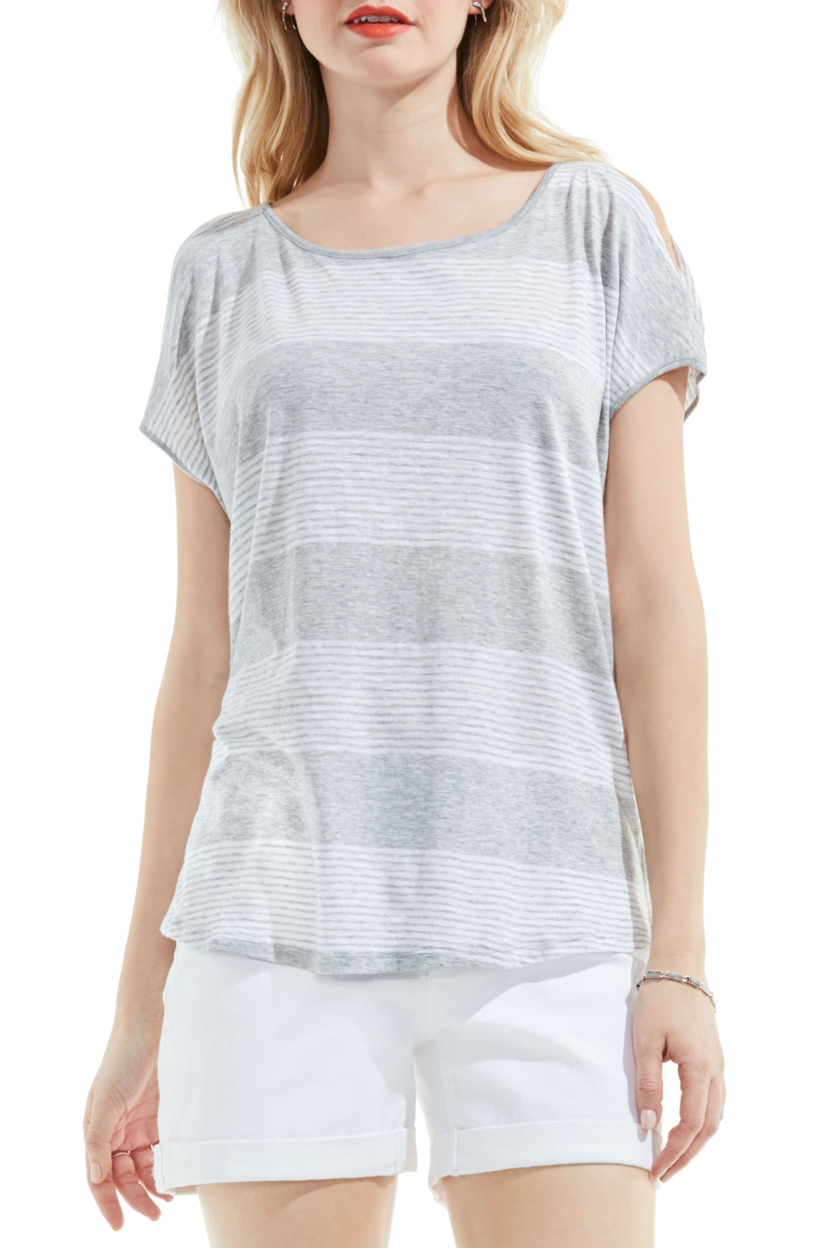Block Stripe Tee,                         Main,                         color, Grey Heather