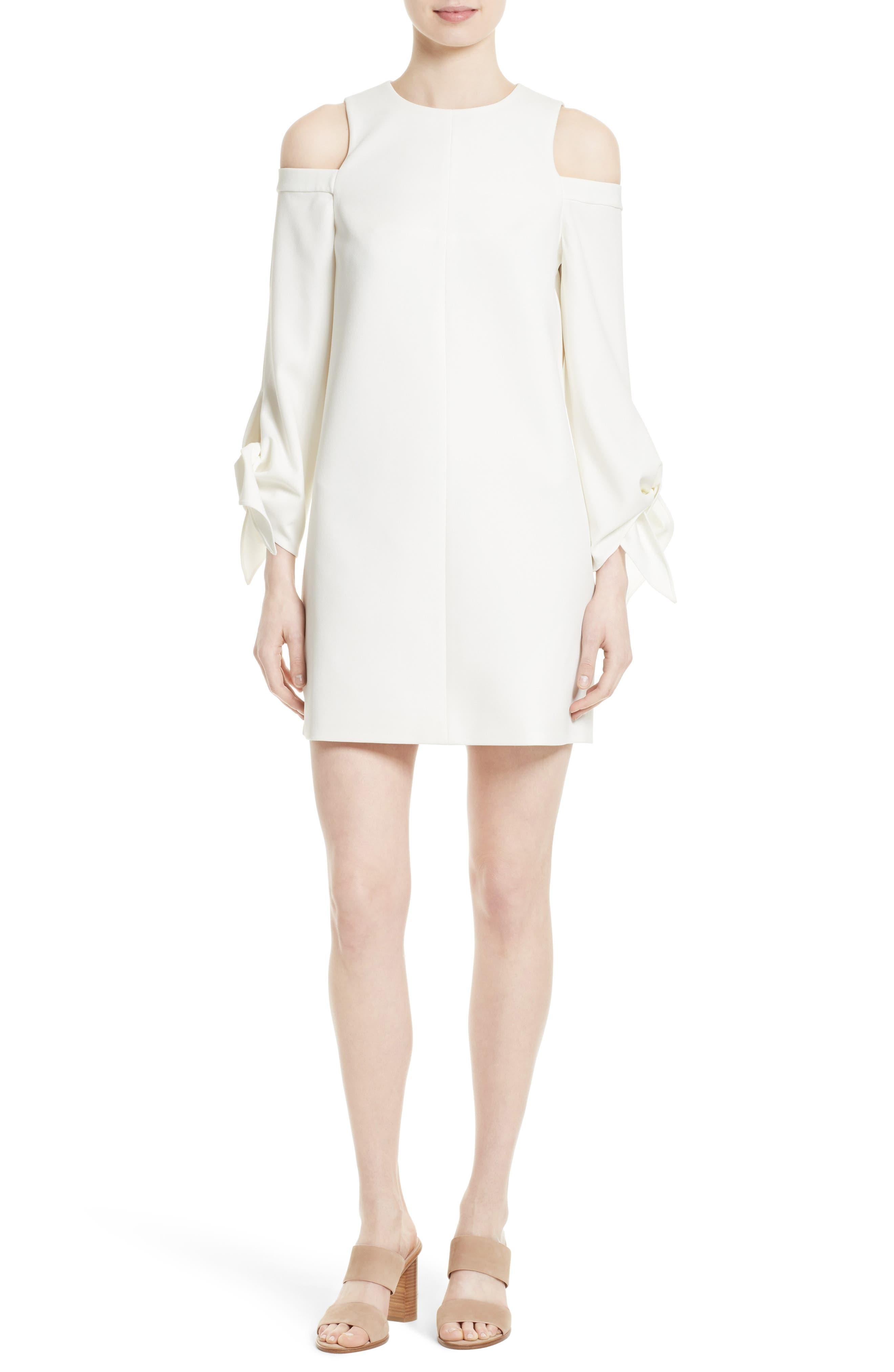 Cold Shoulder Shift Dress,                             Main thumbnail 1, color,                             Ivory