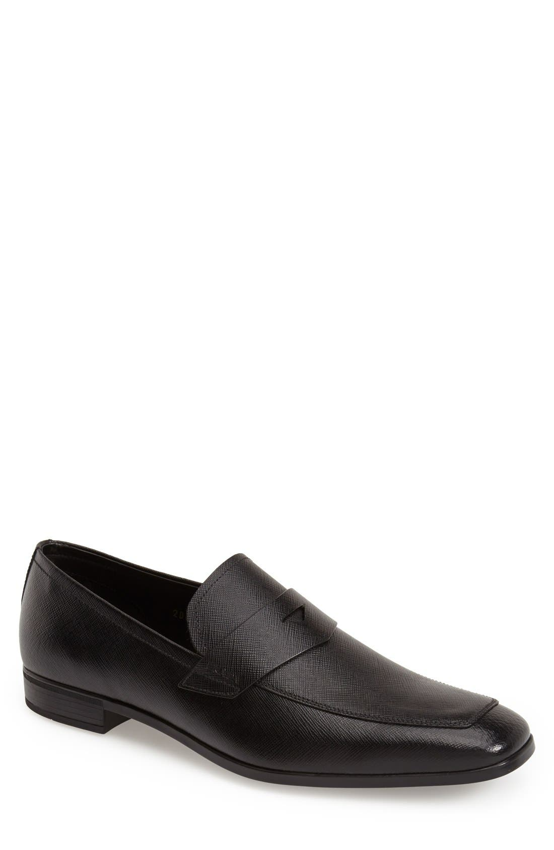 Main Image - Prada Saffiano Leather Penny Loafer (Men)