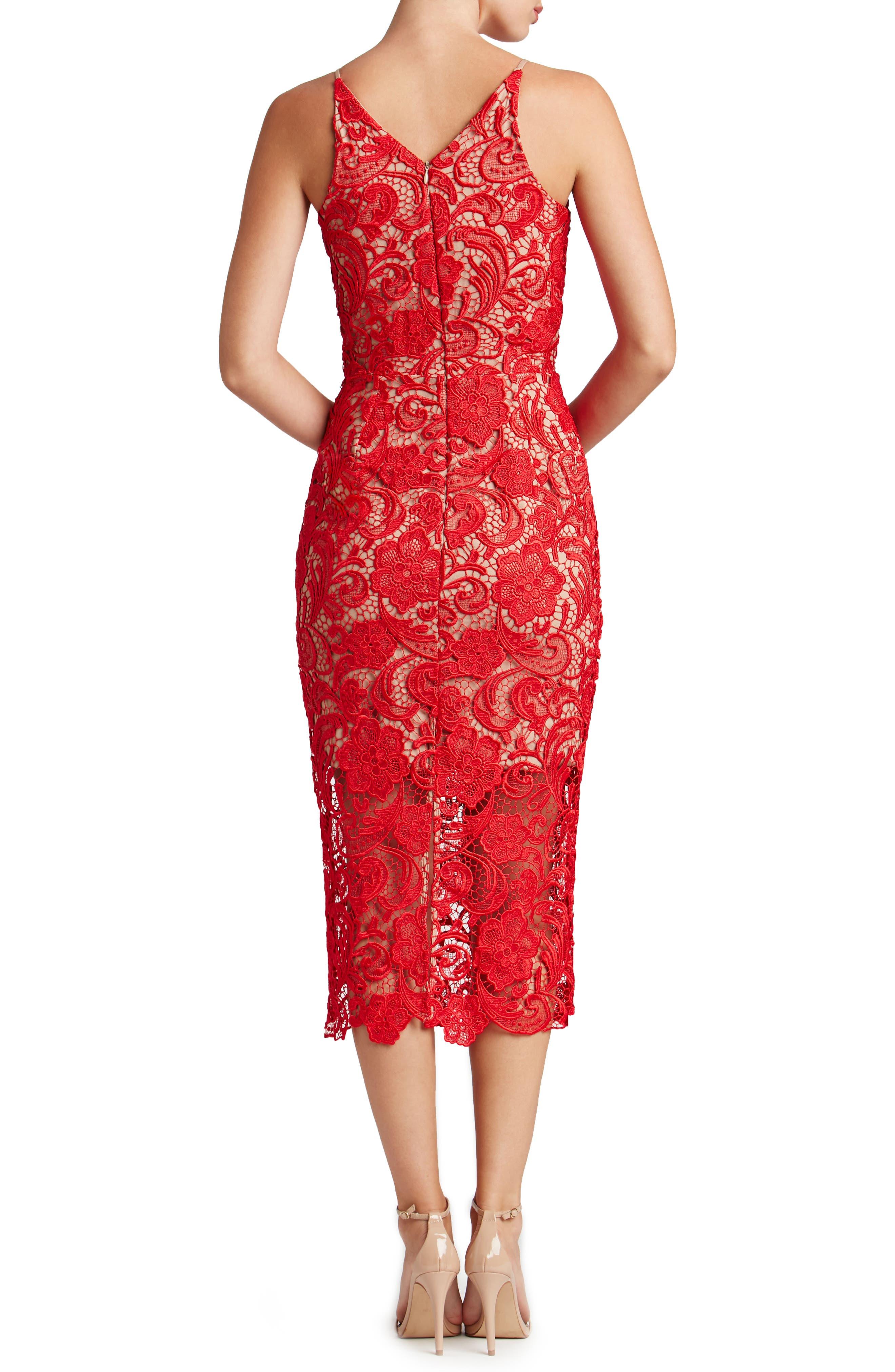 'Marie' Lace Midi Dress,                             Alternate thumbnail 5, color,                             Rose