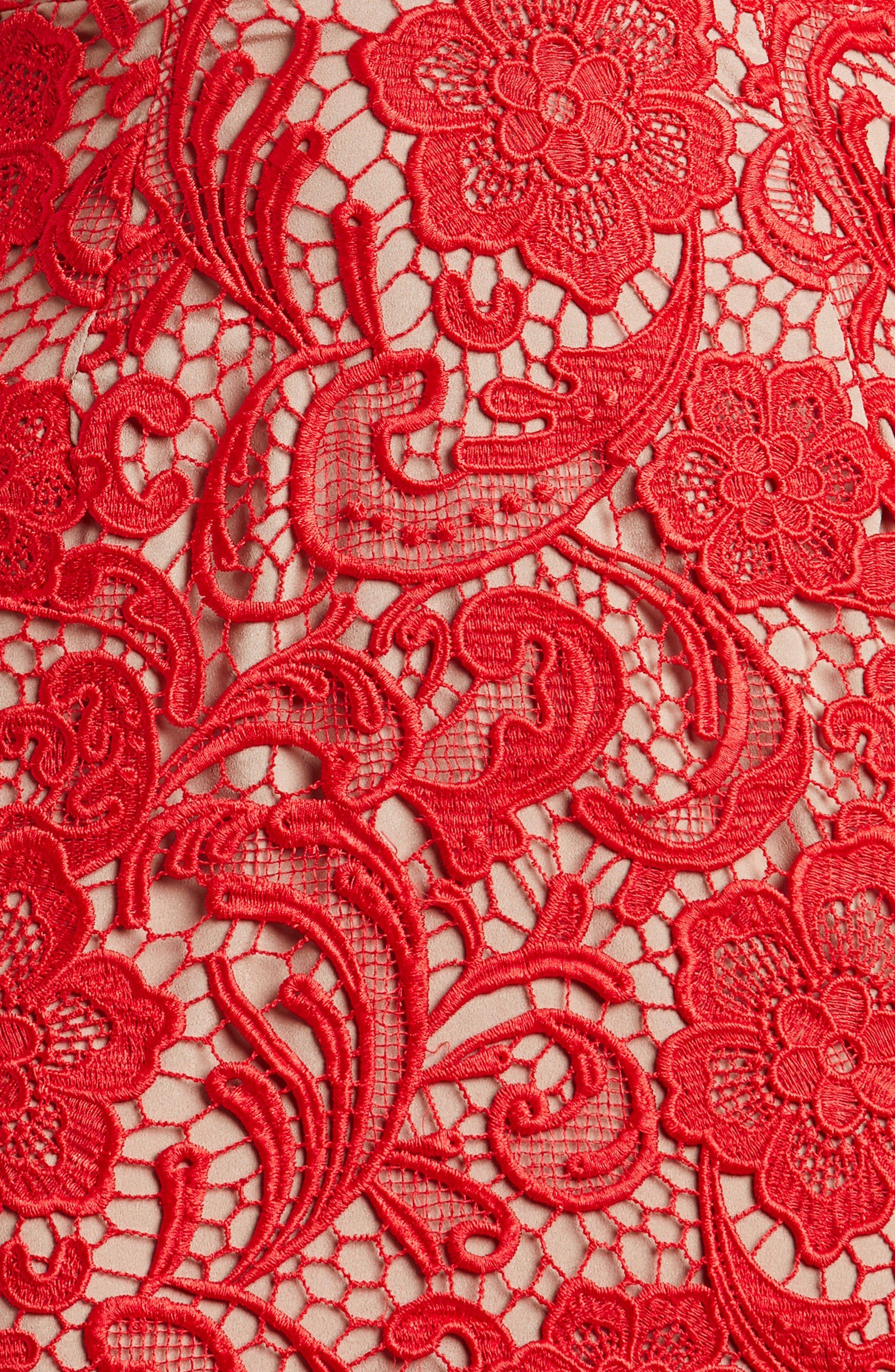 'Marie' Lace Midi Dress,                             Alternate thumbnail 7, color,                             Rose