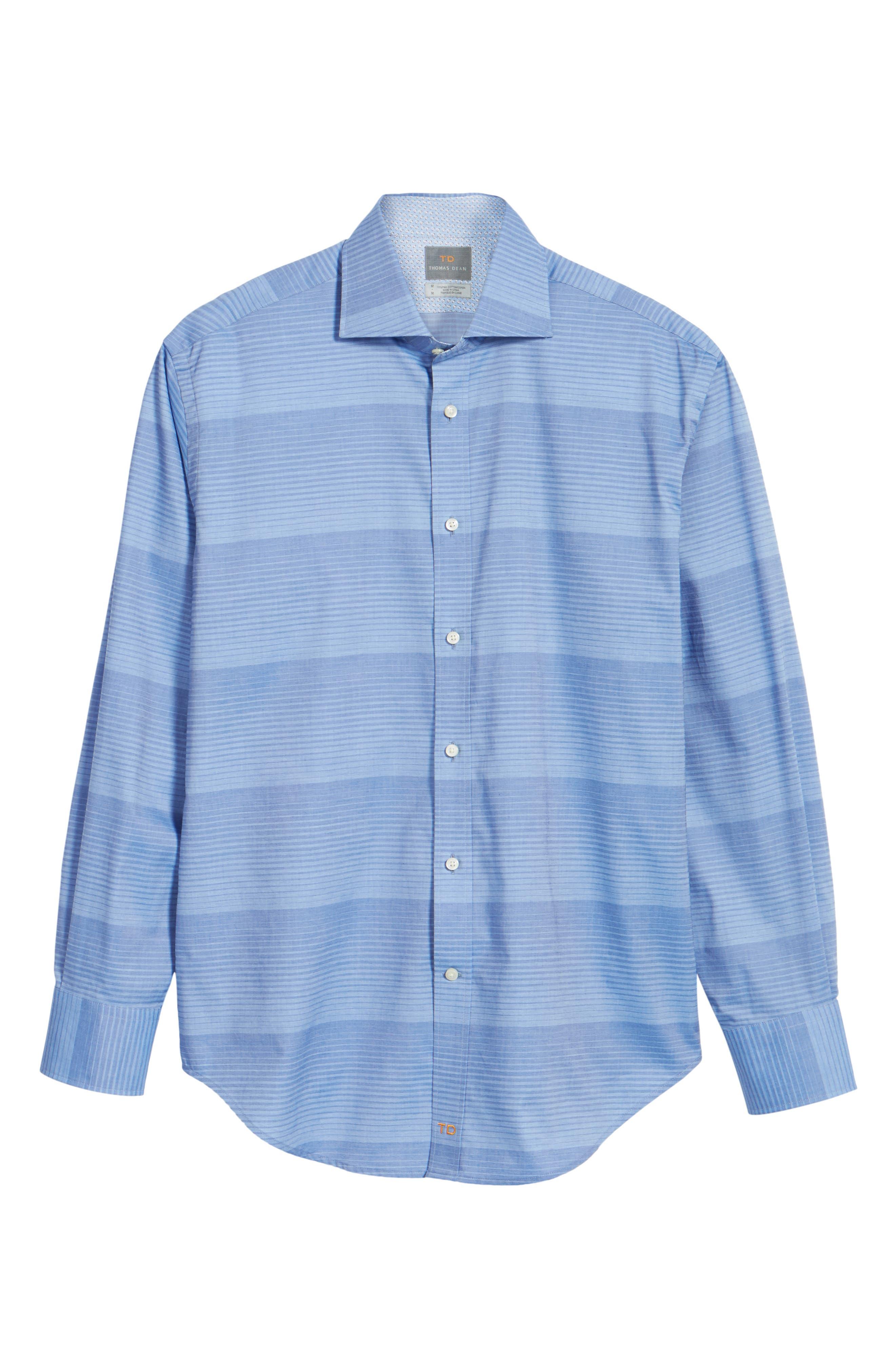 Alternate Image 6  - Thomas Dean Classic Fit Graduated Stripe Sport Shirt