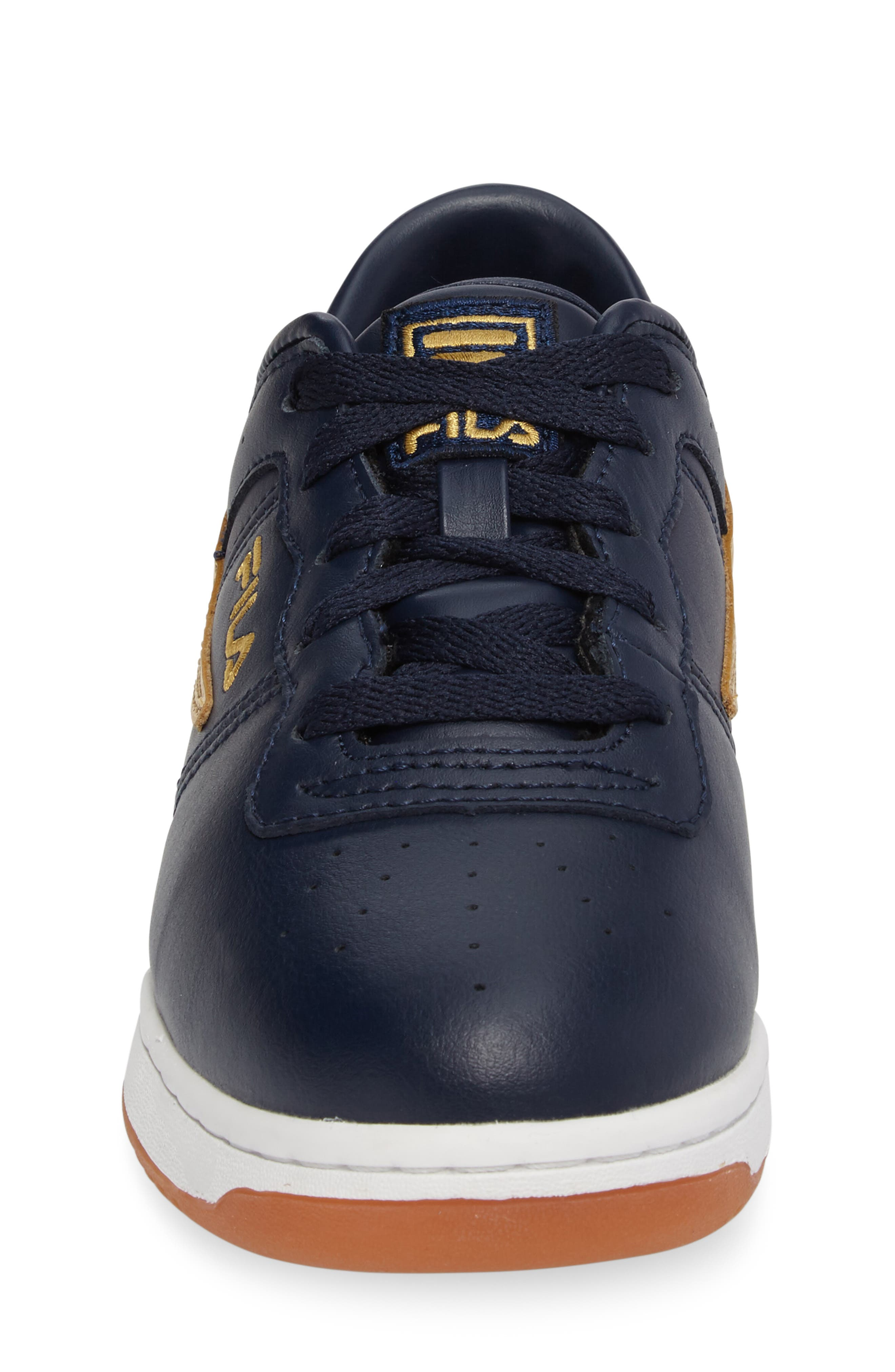 Heritage Sneaker,                             Alternate thumbnail 4, color,                             Navy/ Gold Faux Leather