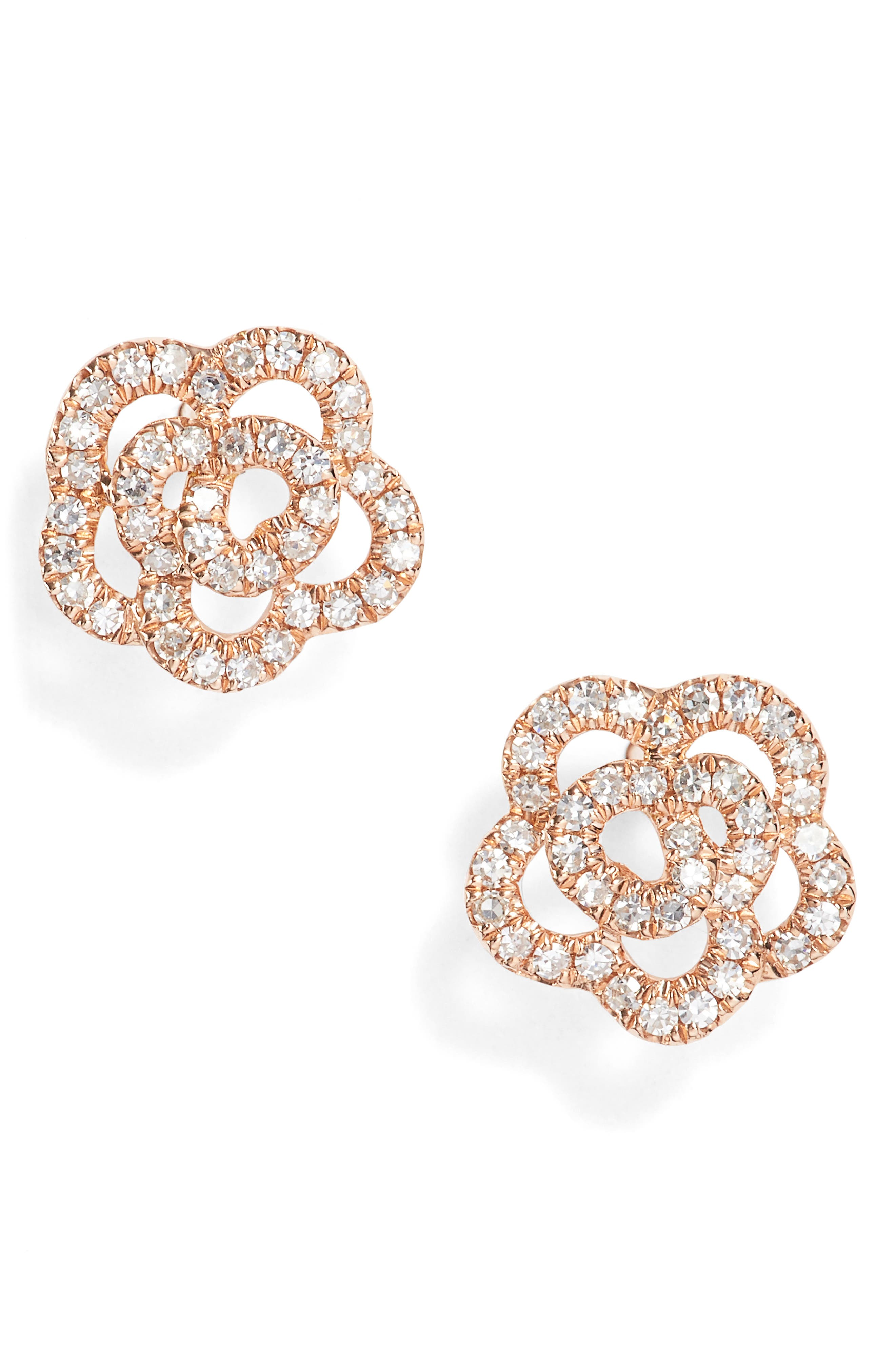 Rose Diamond Stud Earrings,                             Main thumbnail 1, color,                             Rose Gold