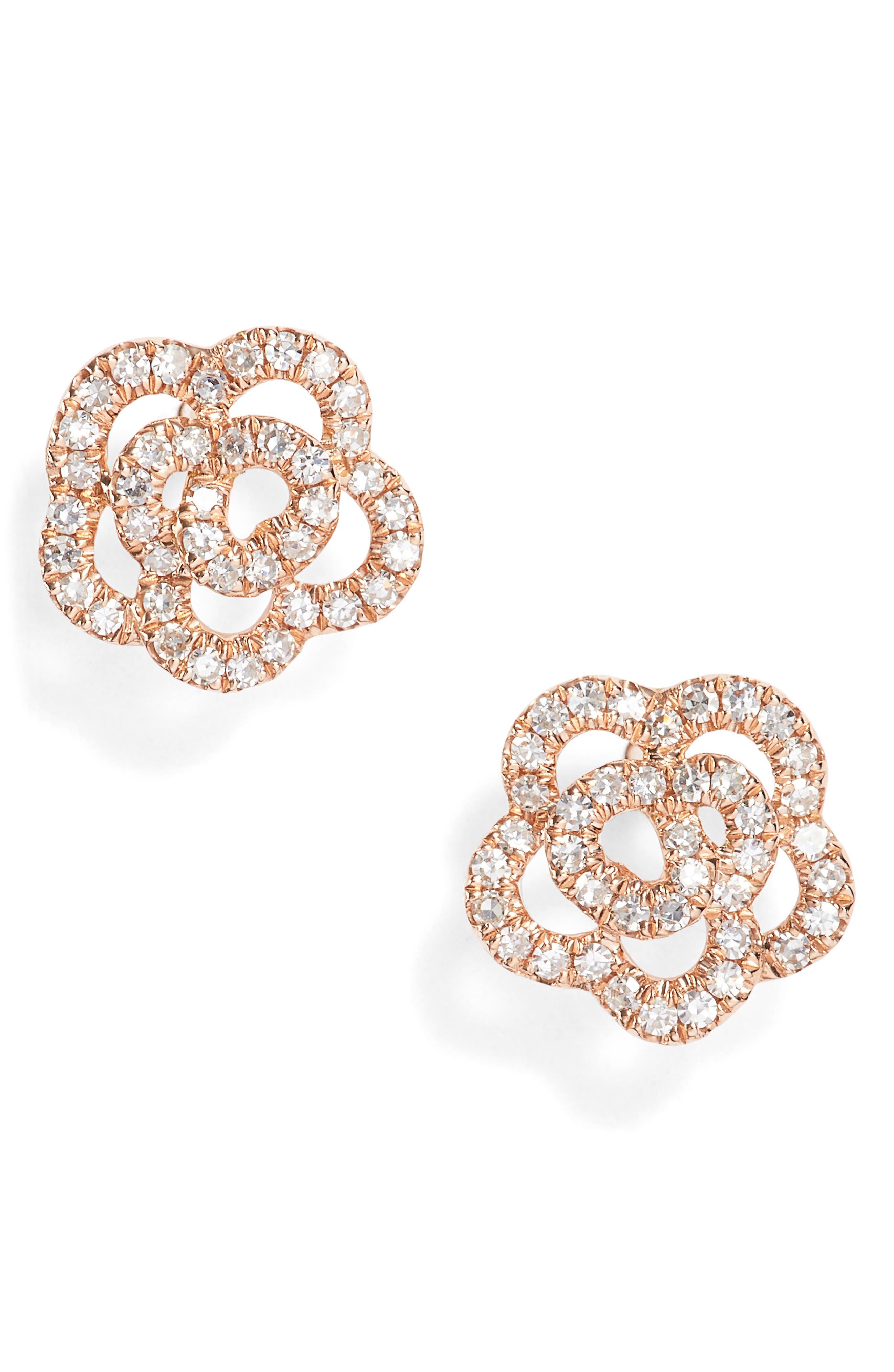 Rose Diamond Stud Earrings,                         Main,                         color, Rose Gold