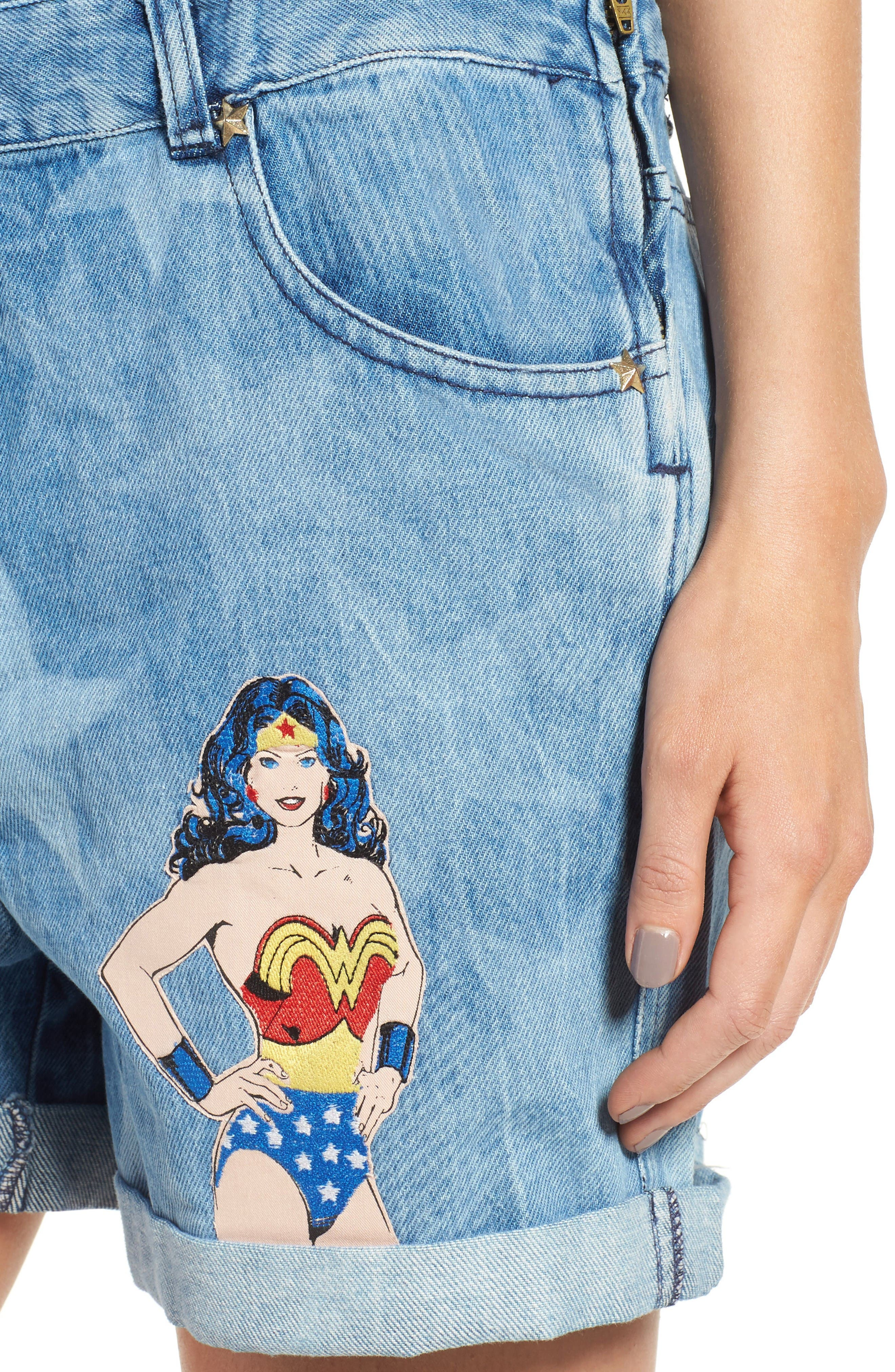 Alternate Image 4  - Paul & Joe Sister Wonder Woman Denim Short Overalls