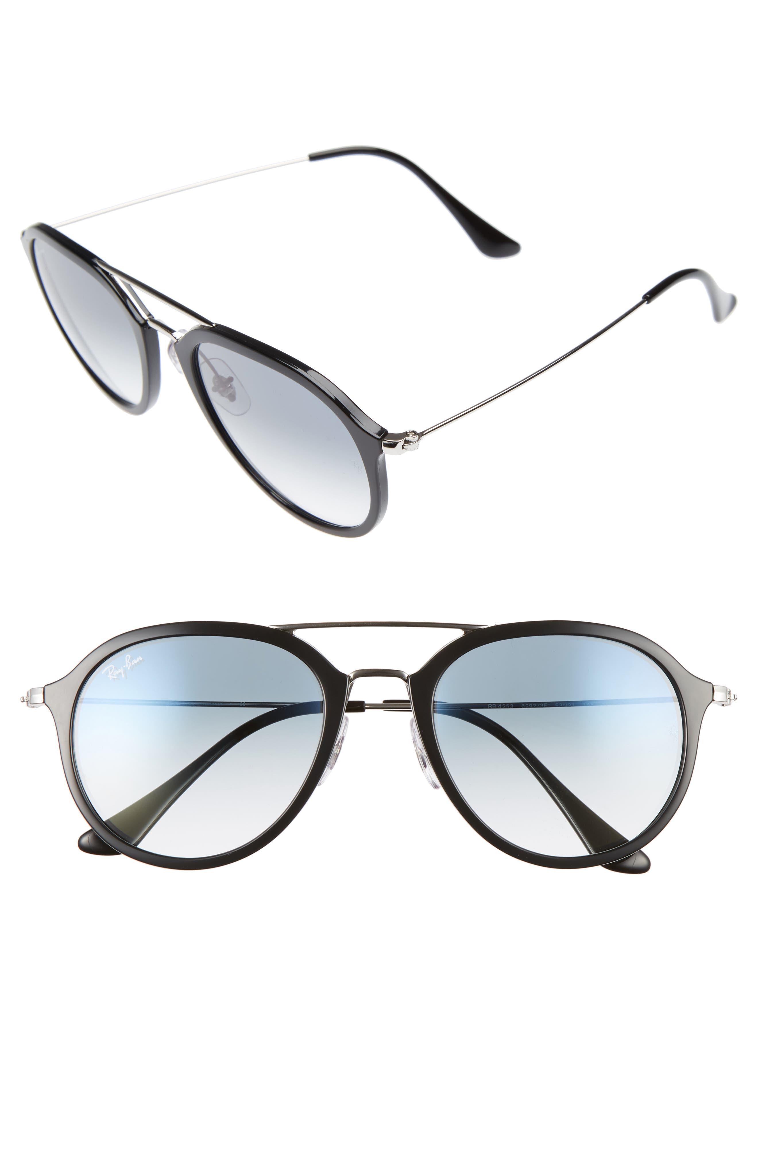 53mm Aviator Sunglasses,                         Main,                         color, Black/ Silver