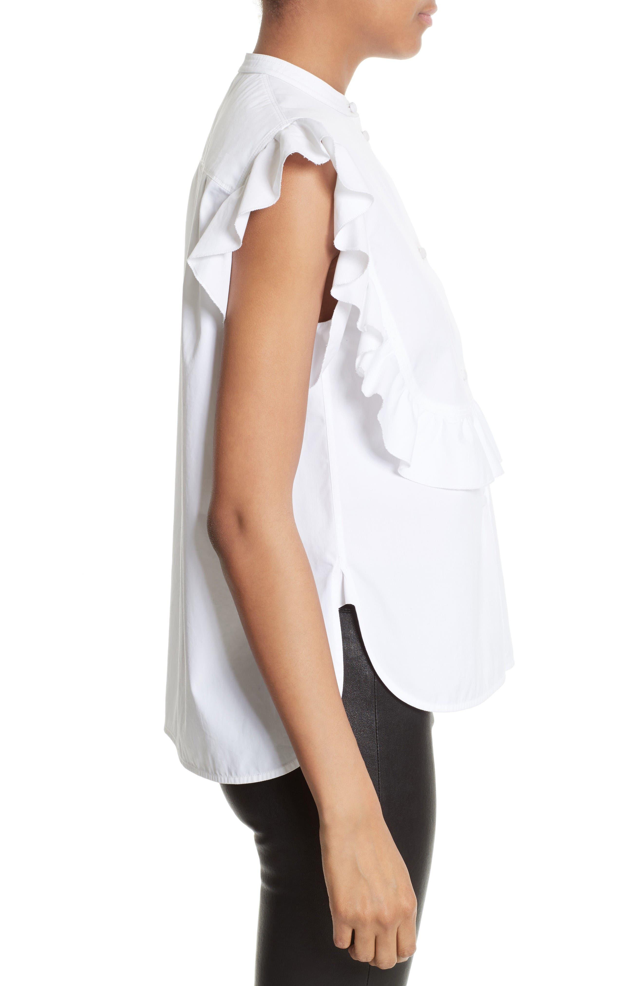 Alternate Image 4  - Helmut Lang Ruffle Bib Cotton Shirt