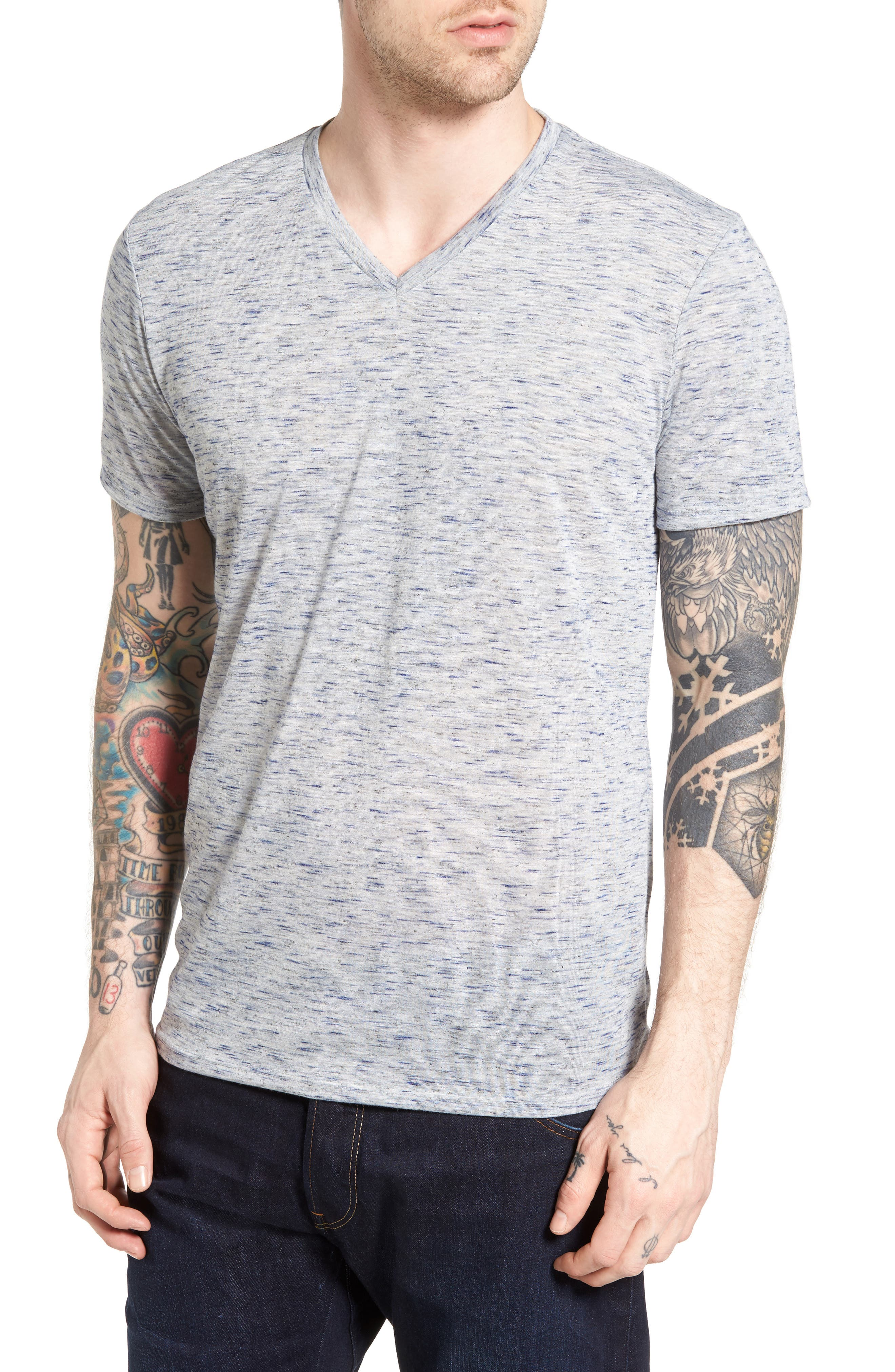 Streaky V-Neck T-Shirt,                         Main,                         color, Blue Indigo Streaky