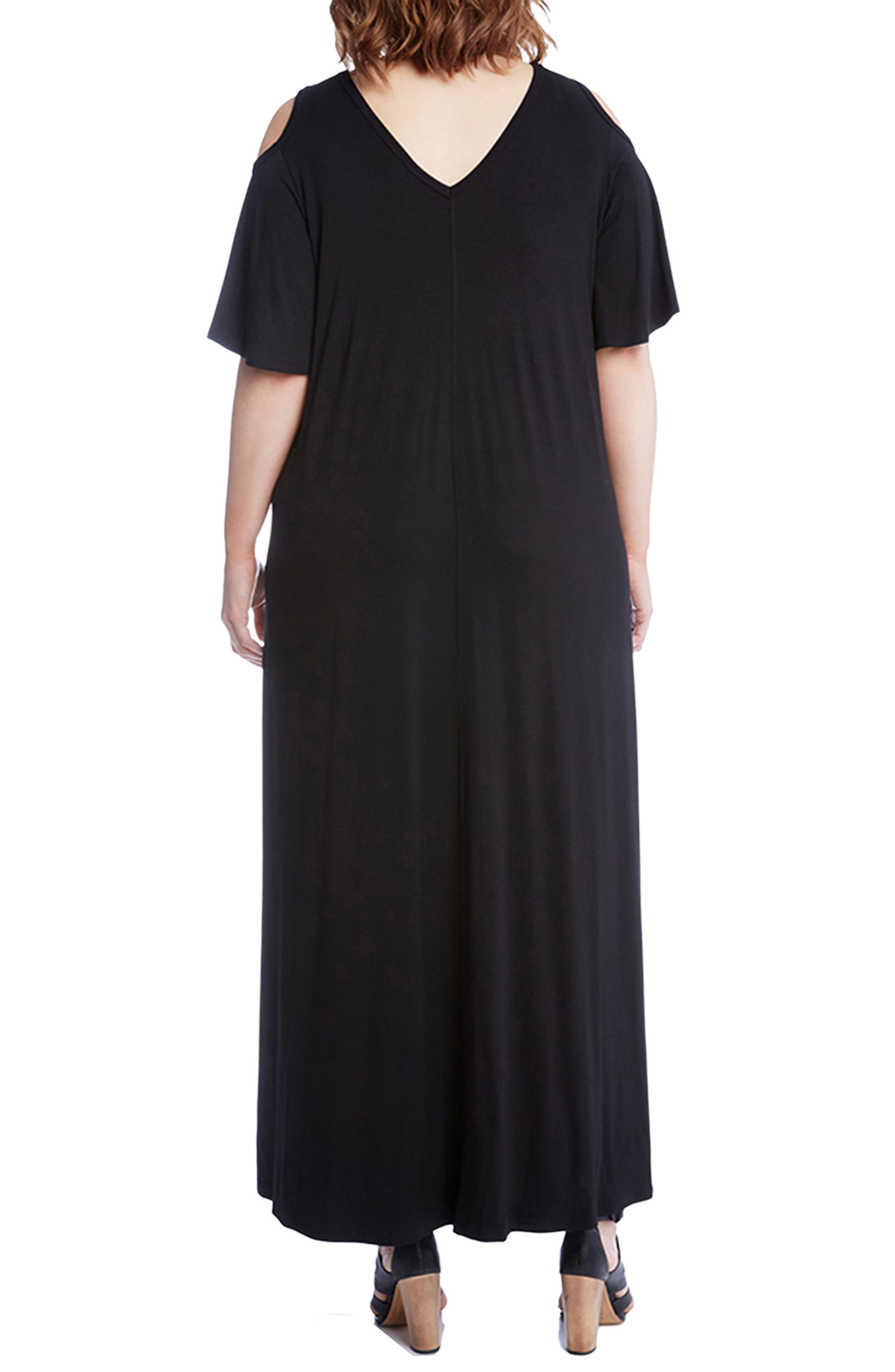 Cold Shoulder A-Line Maxi Dress,                             Alternate thumbnail 2, color,                             Black