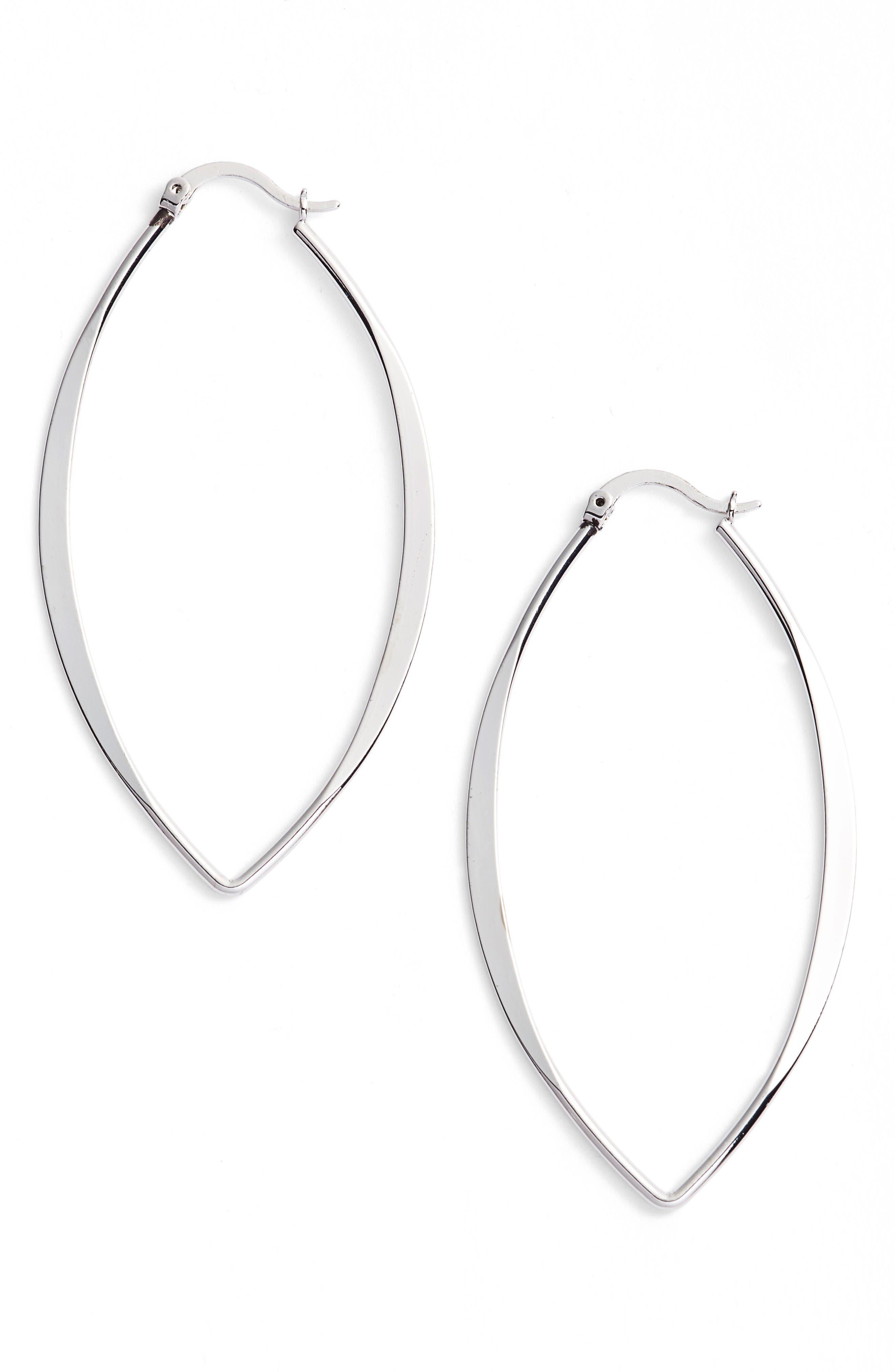 Gamma Hoop Earrings,                         Main,                         color, Silver