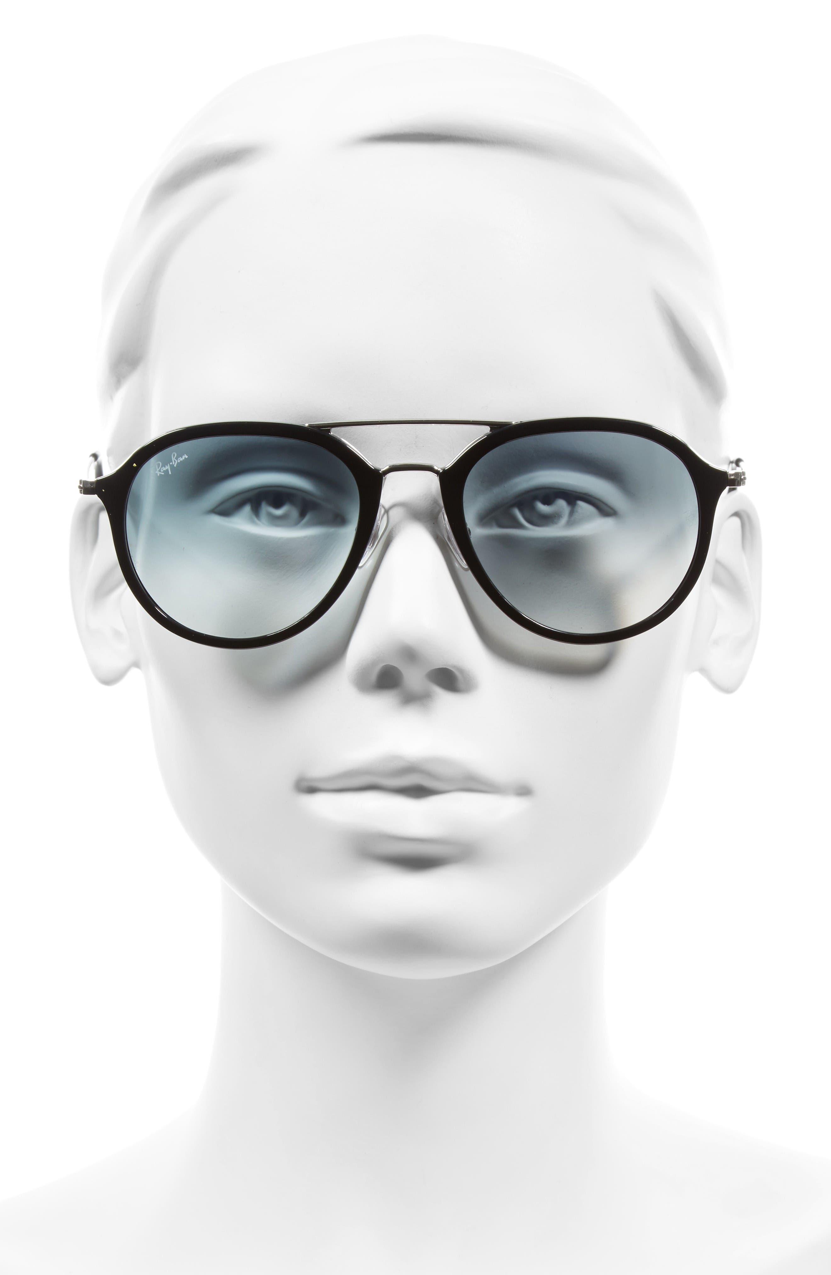 53mm Aviator Sunglasses,                             Alternate thumbnail 2, color,                             Black/ Silver