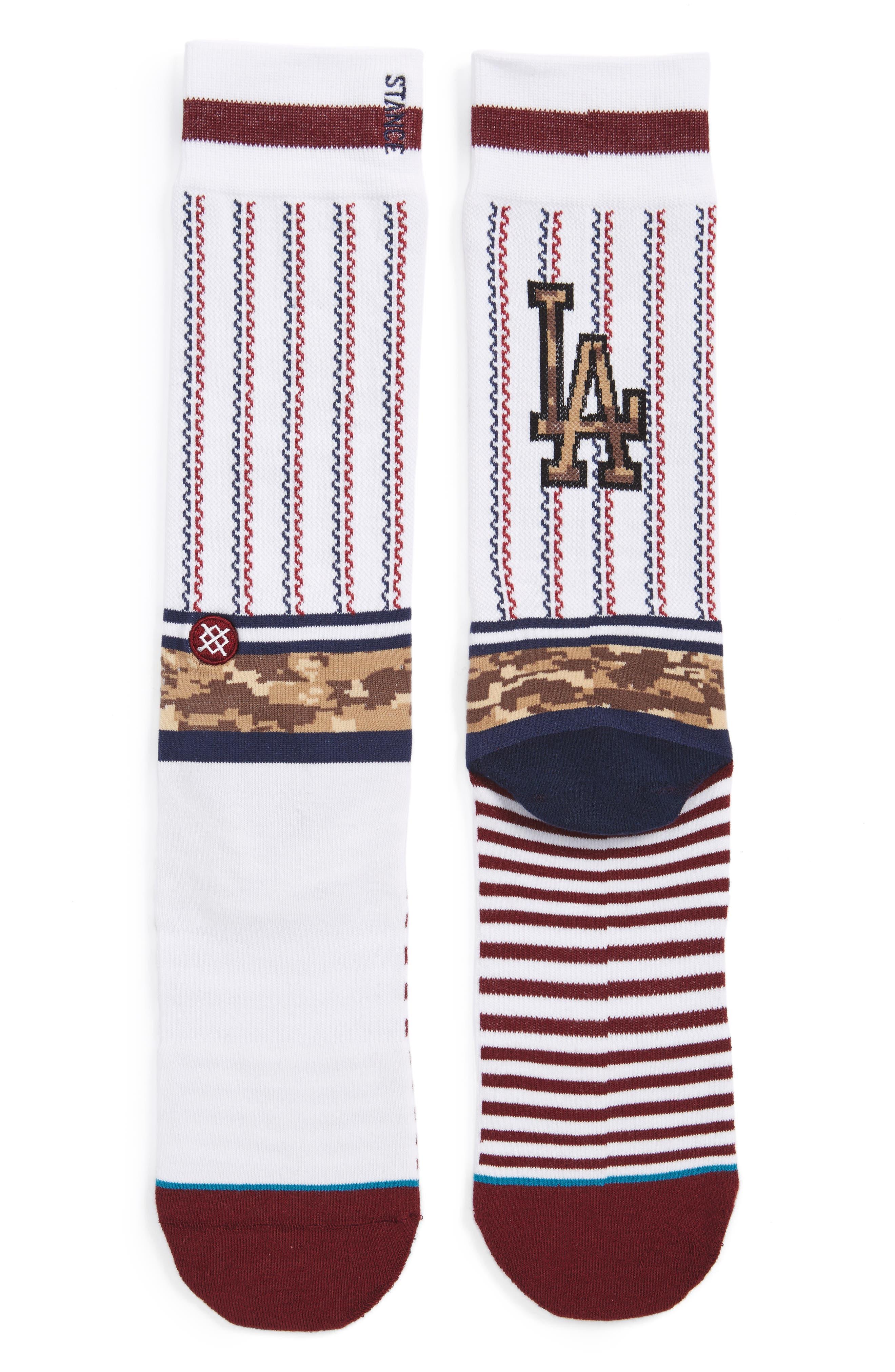 Sentry Dodgers Socks,                             Main thumbnail 1, color,                             White