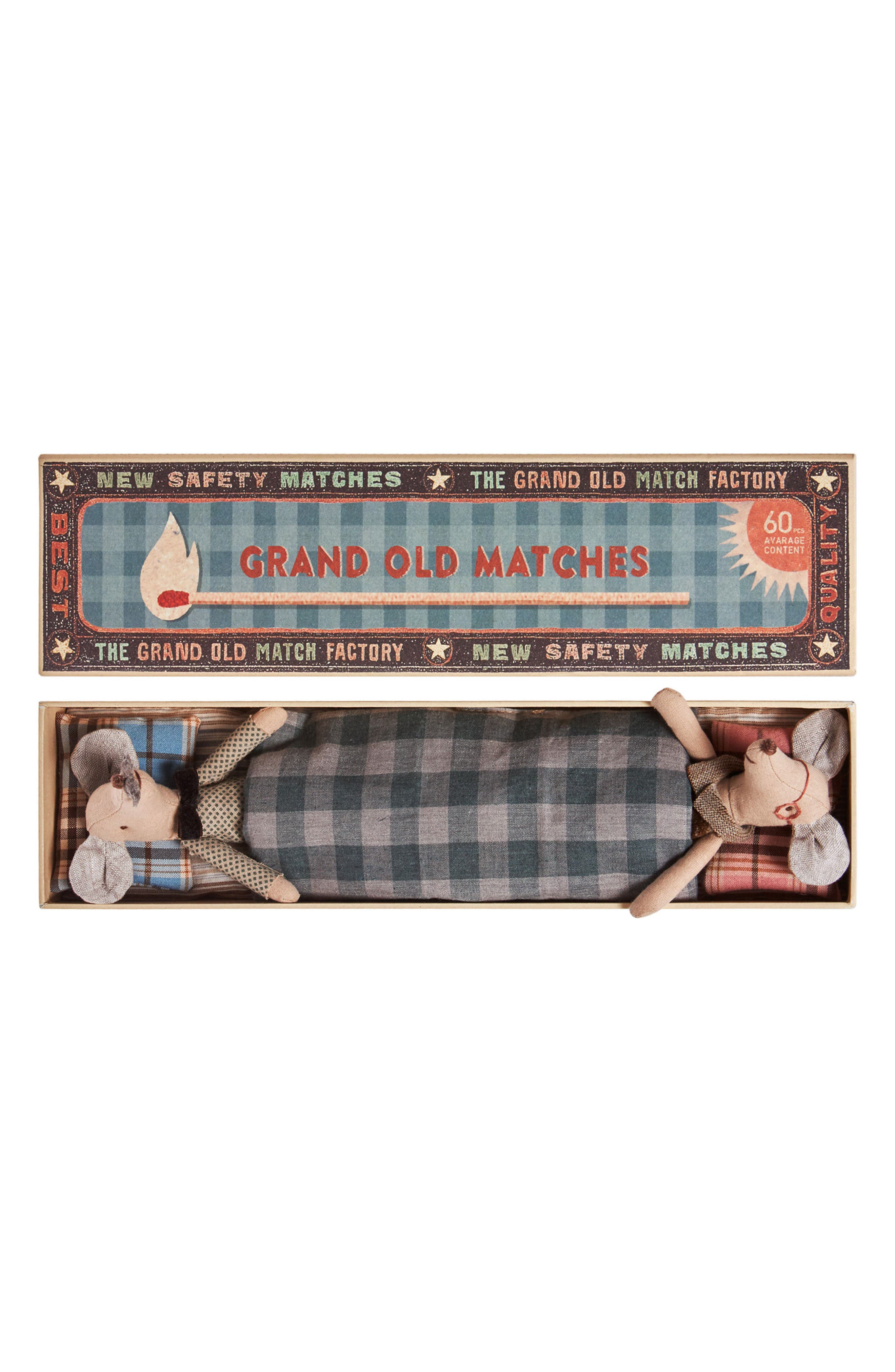 Grandma & Grandpa Stuffed Toy Mice in a Box,                         Main,                         color, Beige