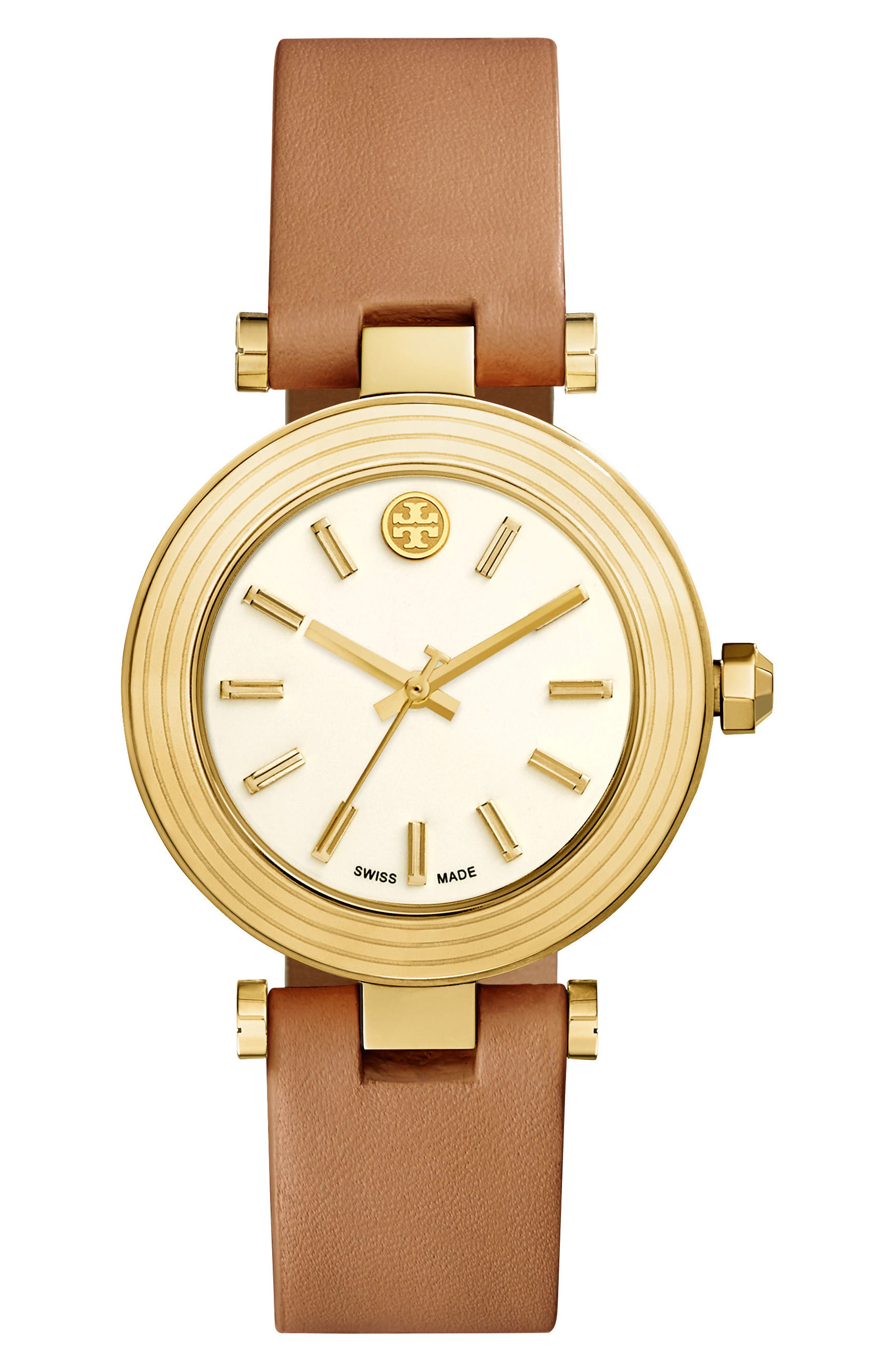 Main Image - Tory Burch Classic-T Leather Strap Watch, 36mm