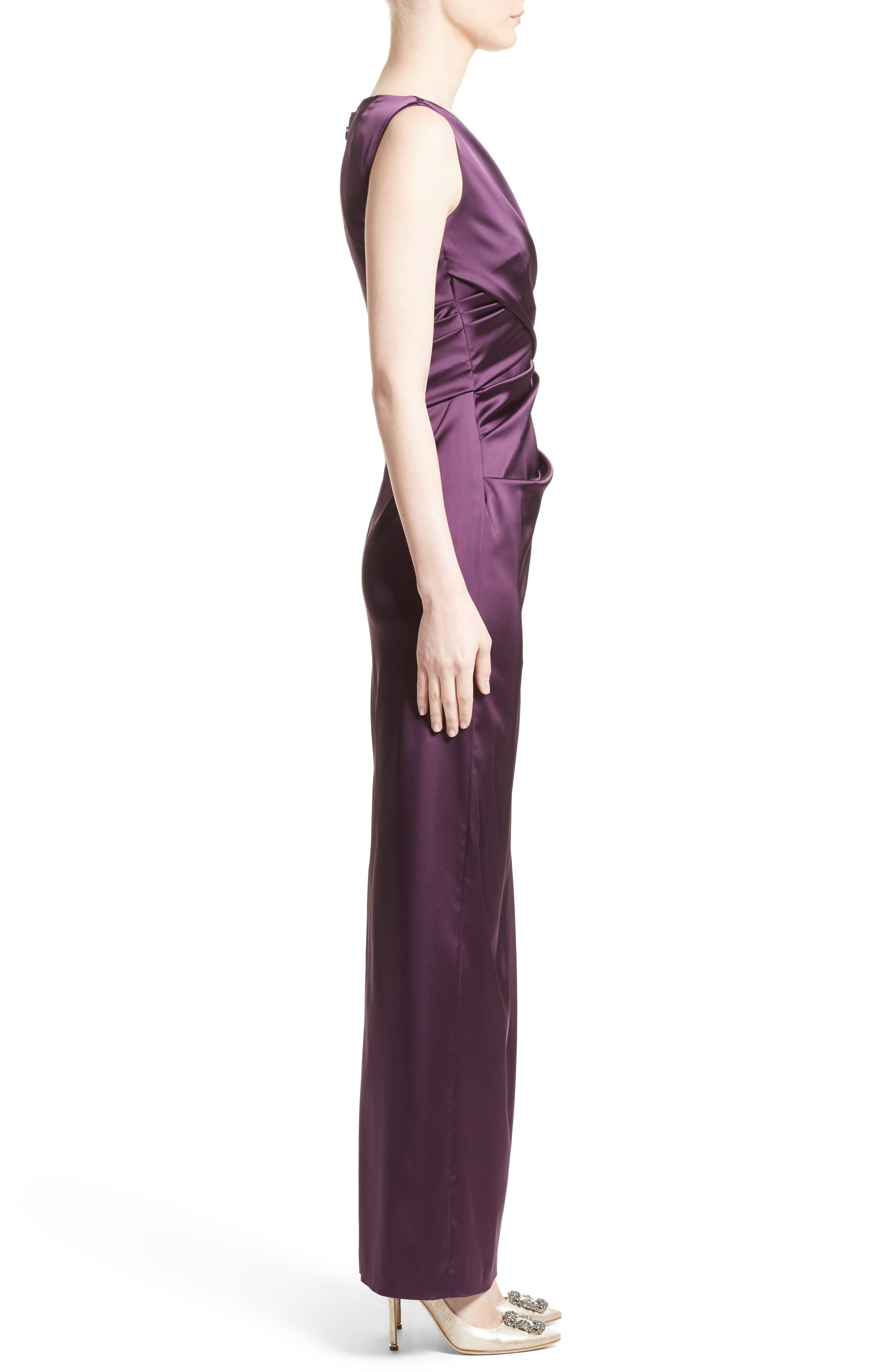 Alternate Image 4  - Talbot Runhof V-Neck Ruched Stretch Satin Column Gown