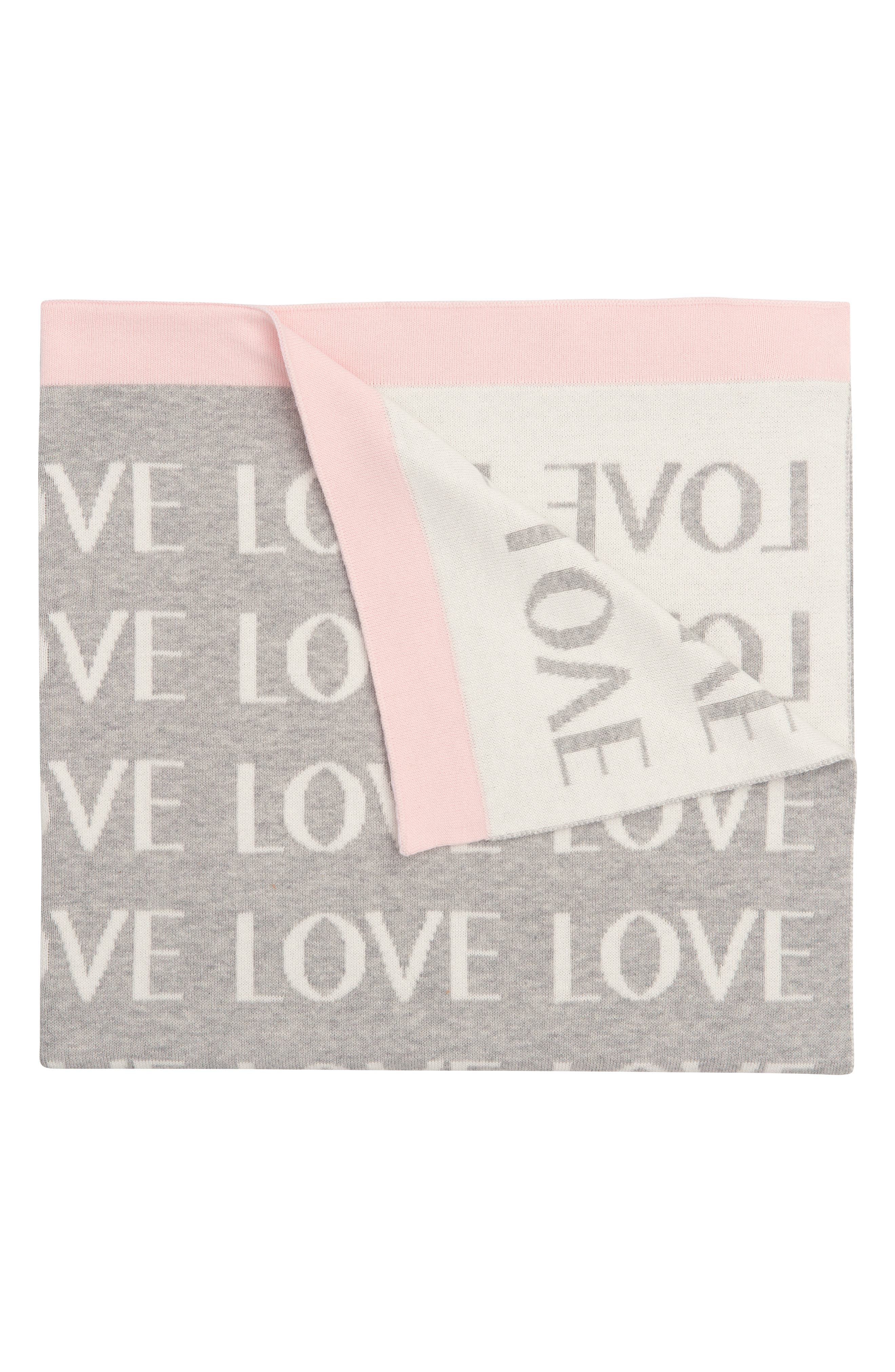 'Love' Knit Blanket,                         Main,                         color, Light Pink