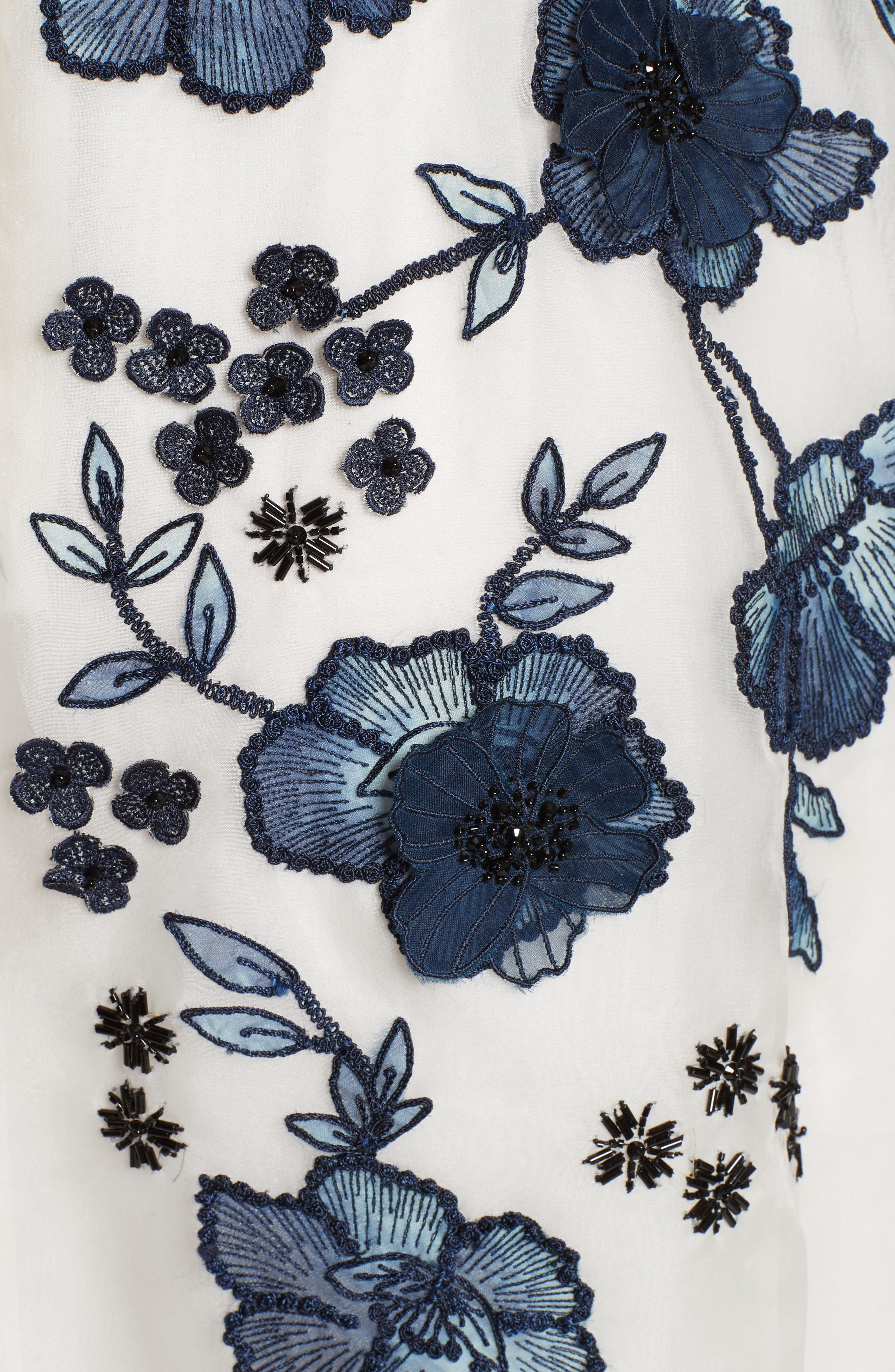 Floral Embroidered Dress,                             Alternate thumbnail 3, color,                             Navy/ Ivory