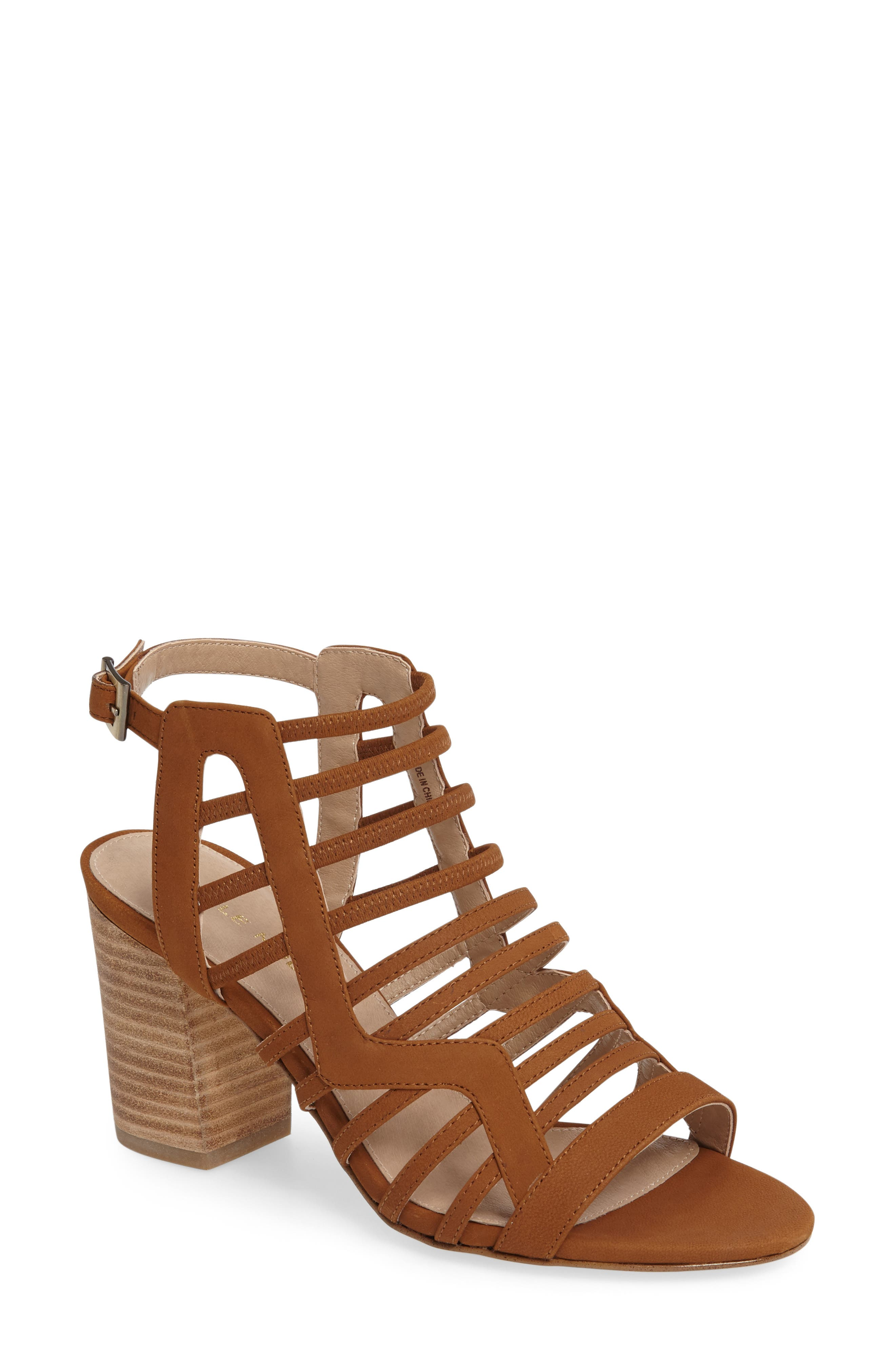 Bonitta Cage Sandal,                             Main thumbnail 1, color,                             Luggage Leather