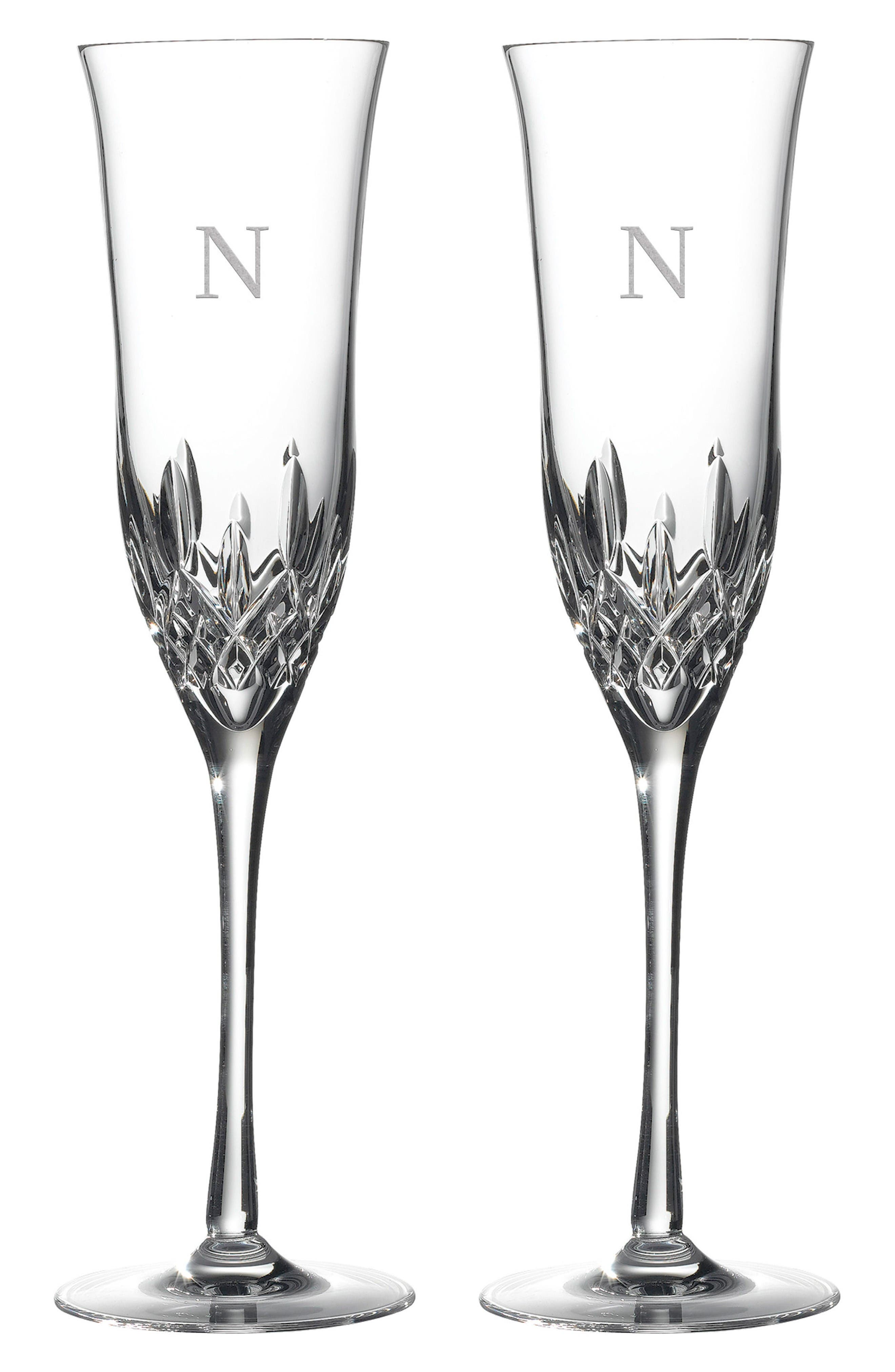 Lismore Essence Set of 2 Monogram Lead Crystal Champagne Flutes,                             Main thumbnail 1, color,                             Clear - N