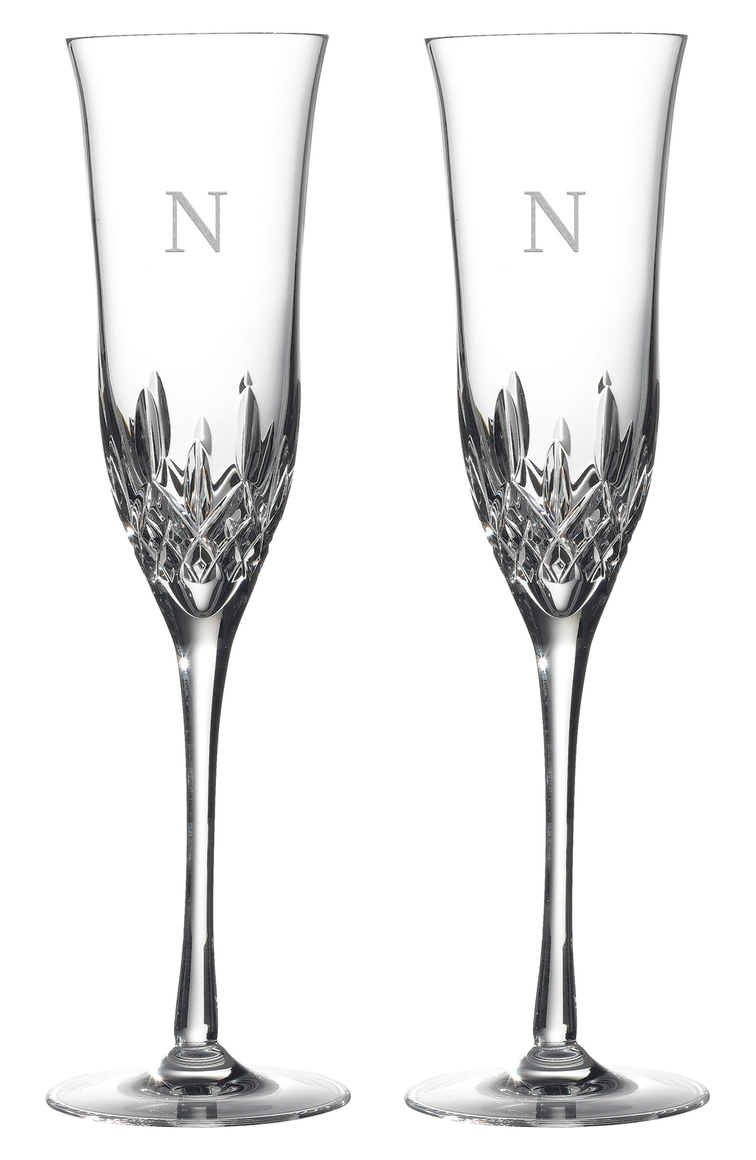 Lismore Essence Set of 2 Monogram Lead Crystal Champagne Flutes,                         Main,                         color, Clear - N