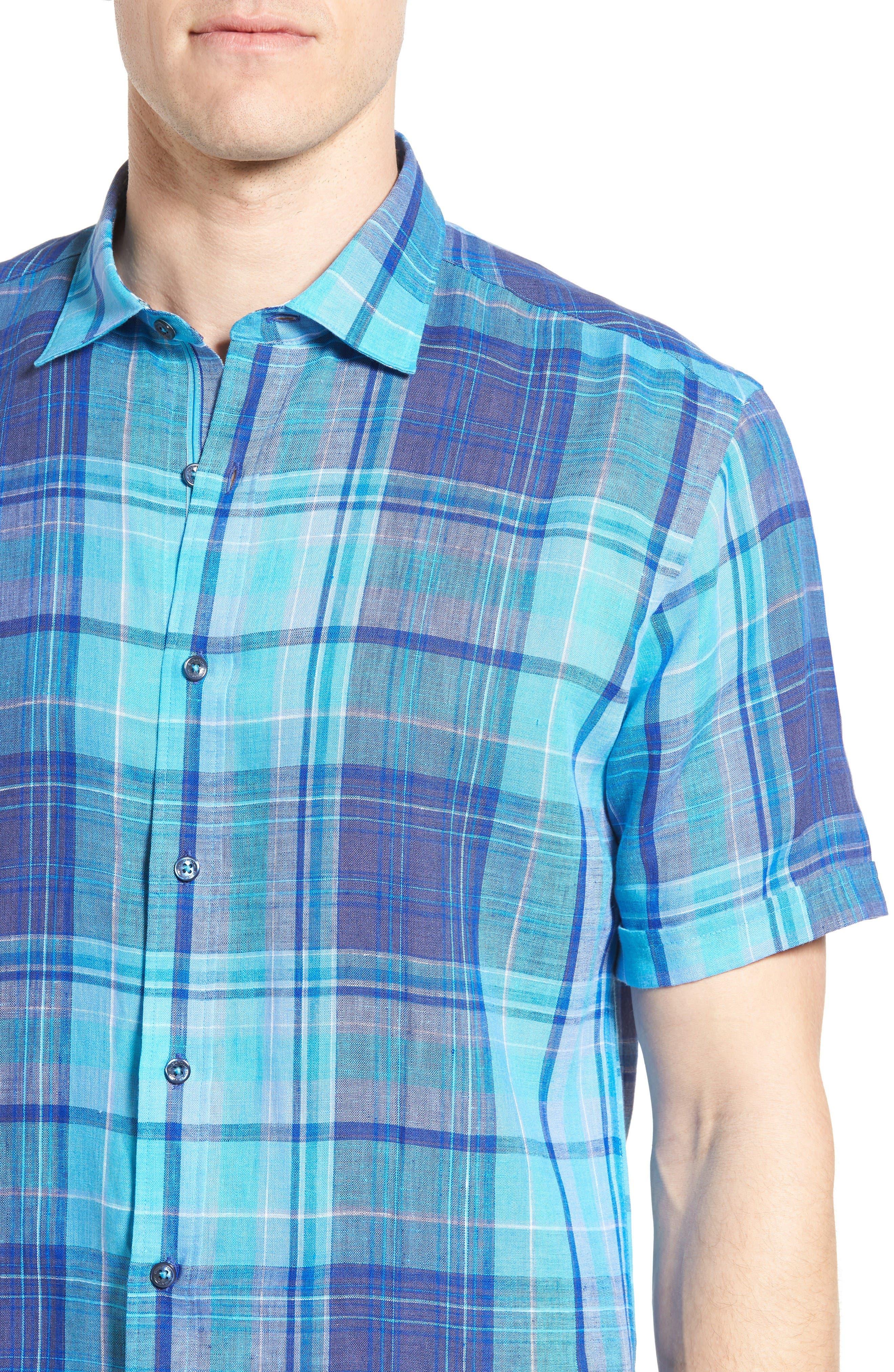 Alternate Image 4  - Bugatchi Shaped Fit Linen Sport Shirt