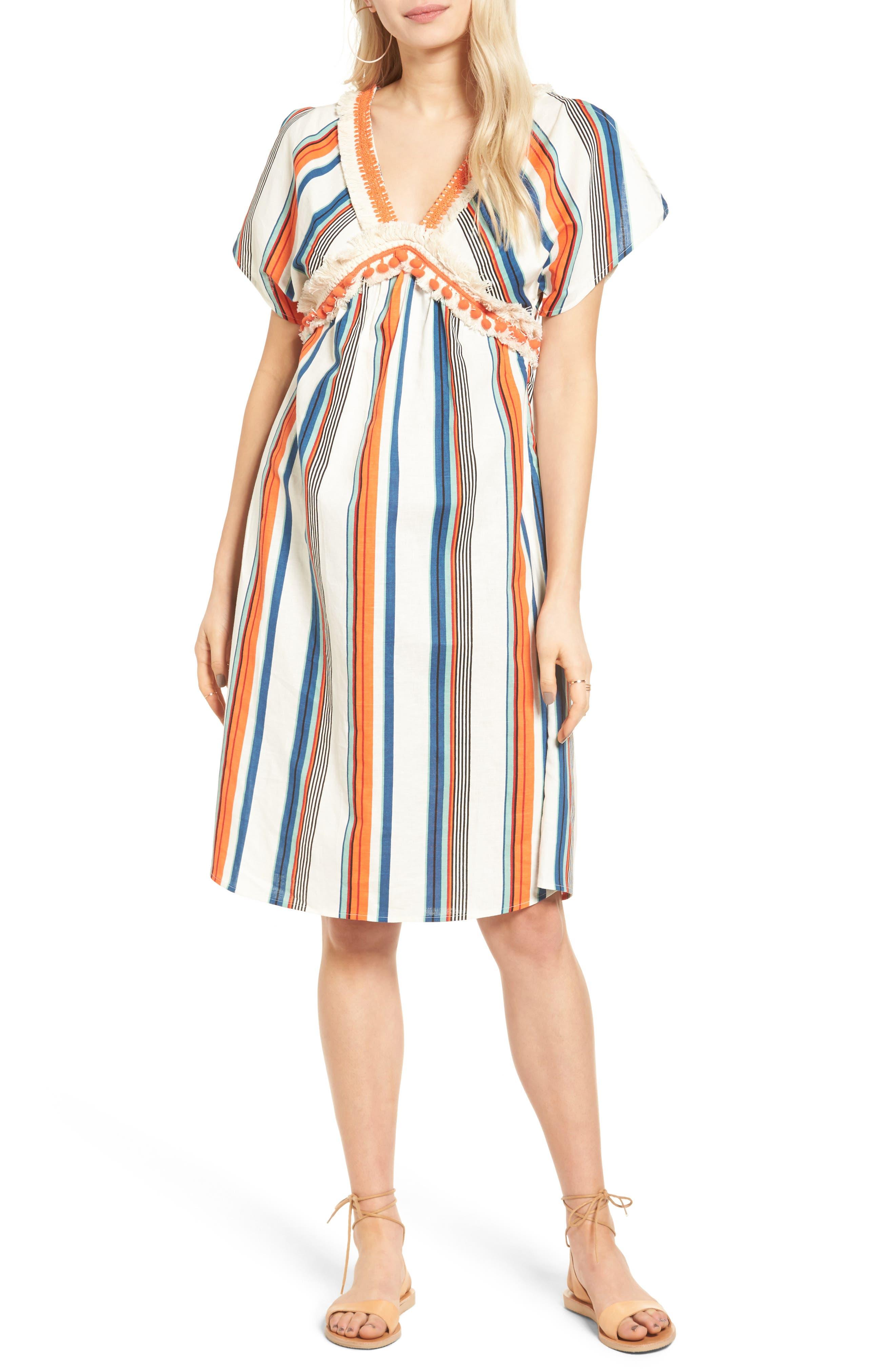 Alternate Image 1 Selected - MOON RIVER Stripe Linen & Cotton Dress
