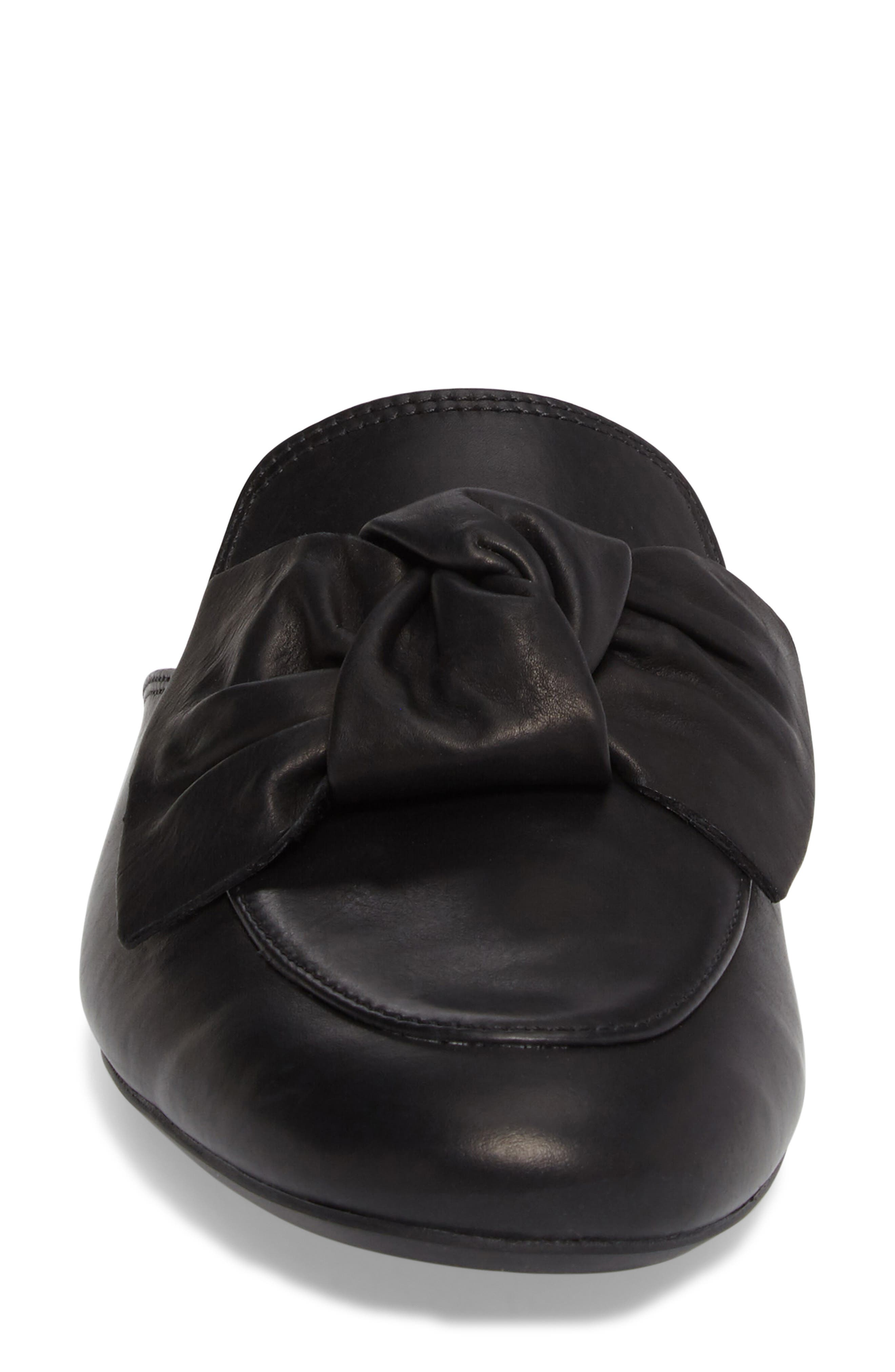Mary Bow Mule Loafer,                             Alternate thumbnail 4, color,                             Black Leather