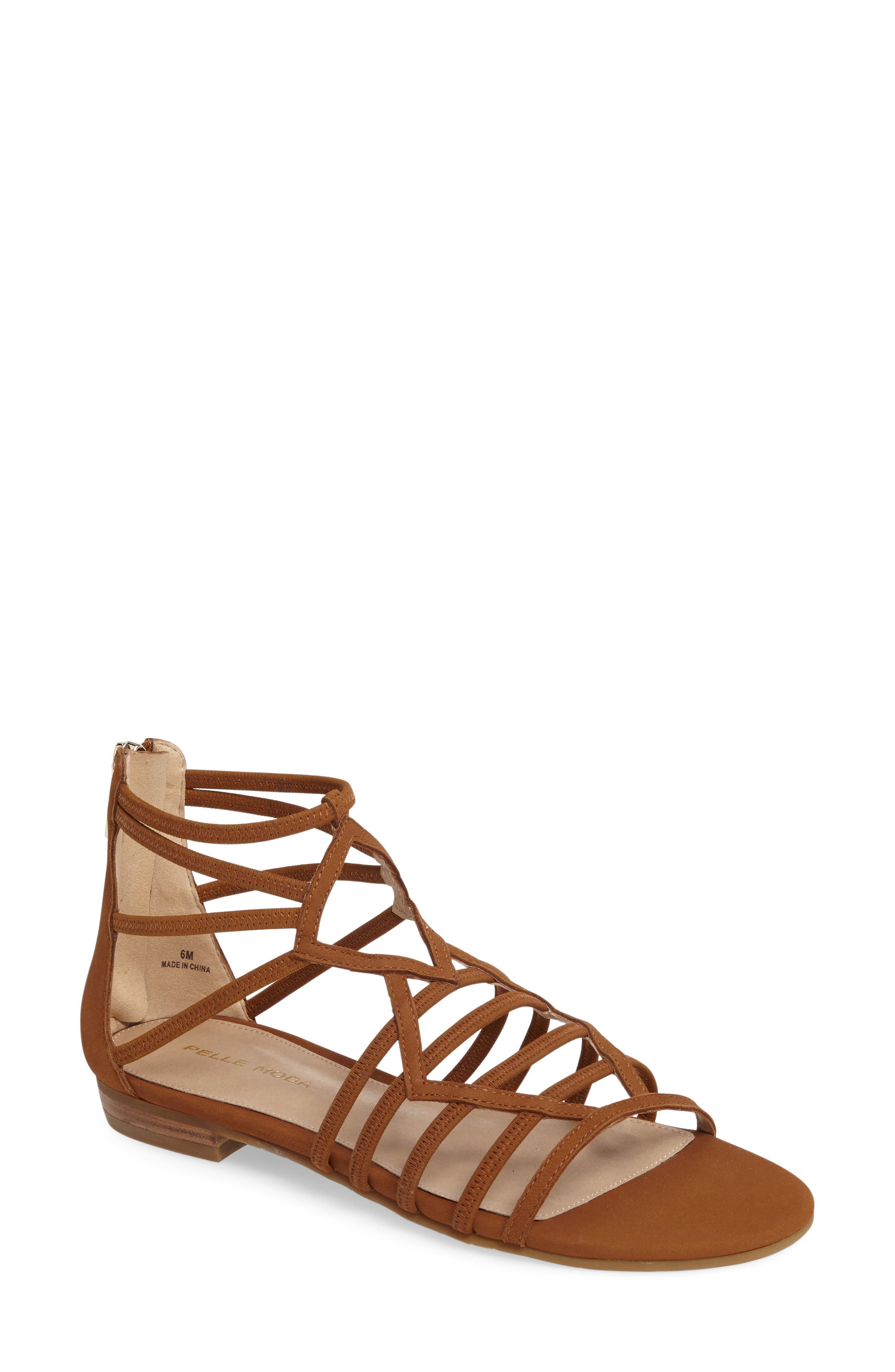 Brazil Strappy Sandal,                             Main thumbnail 1, color,                             Luggage Leather