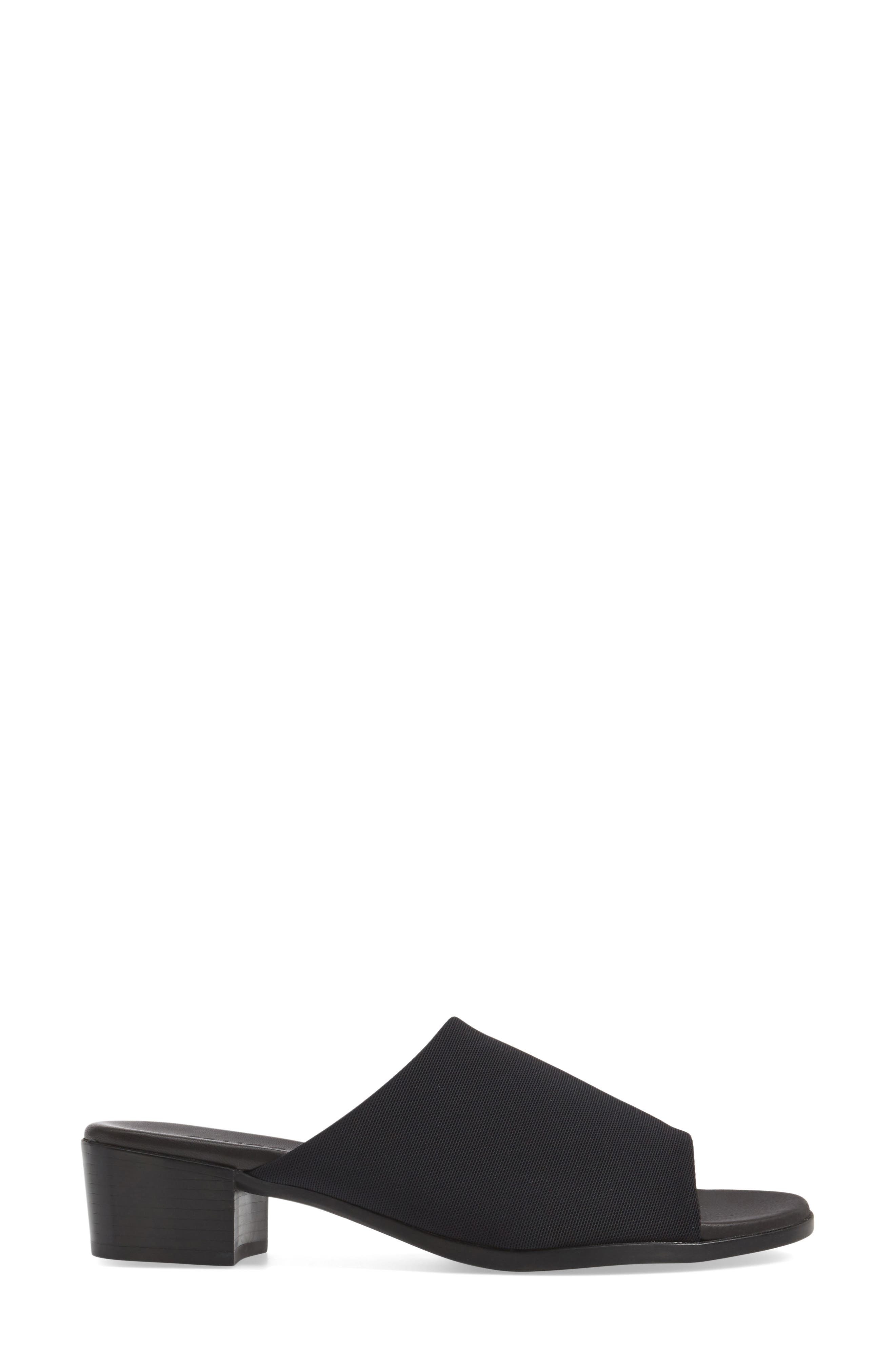 Beth Slide Sandal,                             Alternate thumbnail 3, color,                             Black Fabric