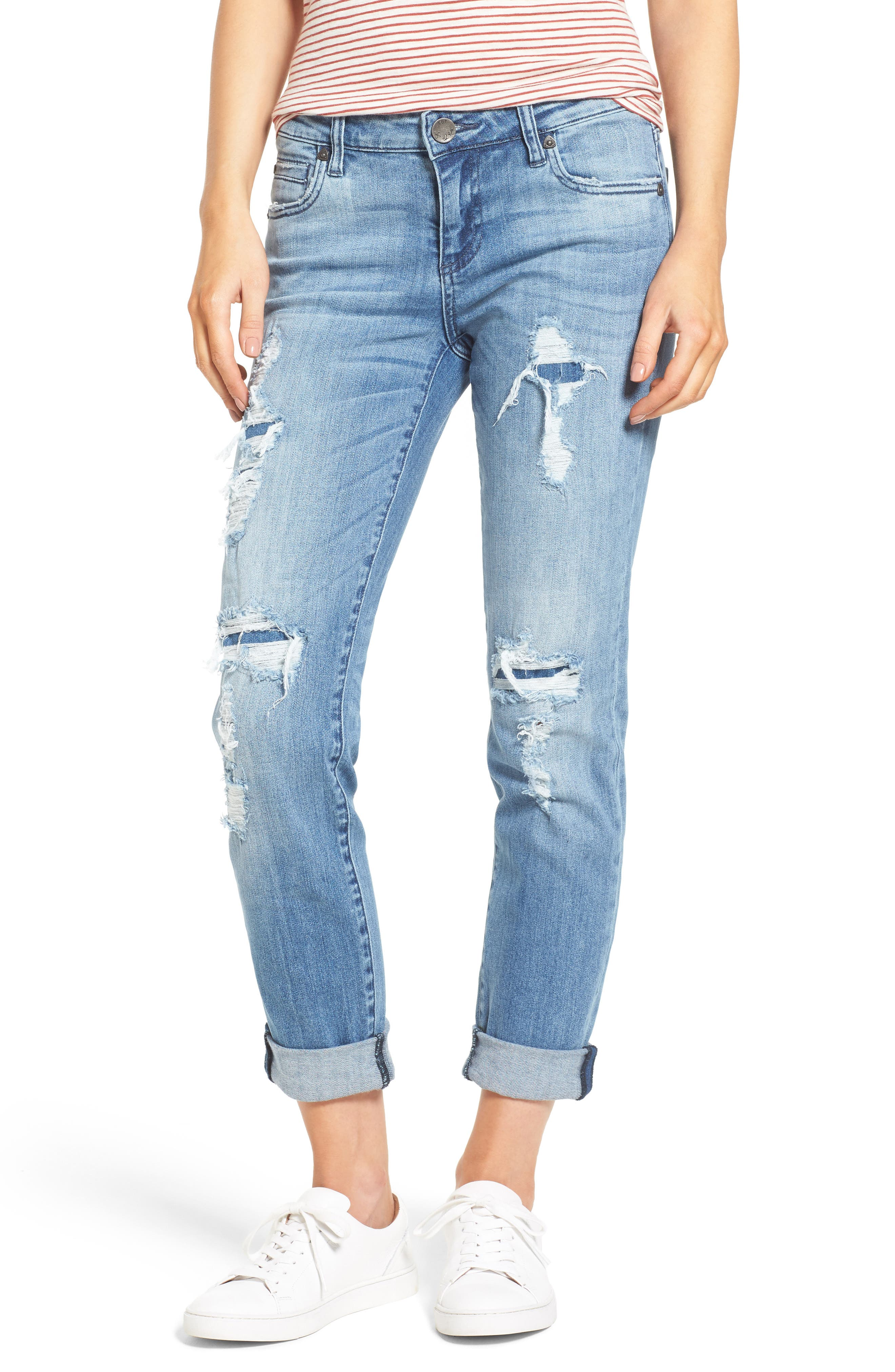 Main Image - KUT from the Kloth Catherine Ripped & Repaired Boyfriend Jeans (Novel)