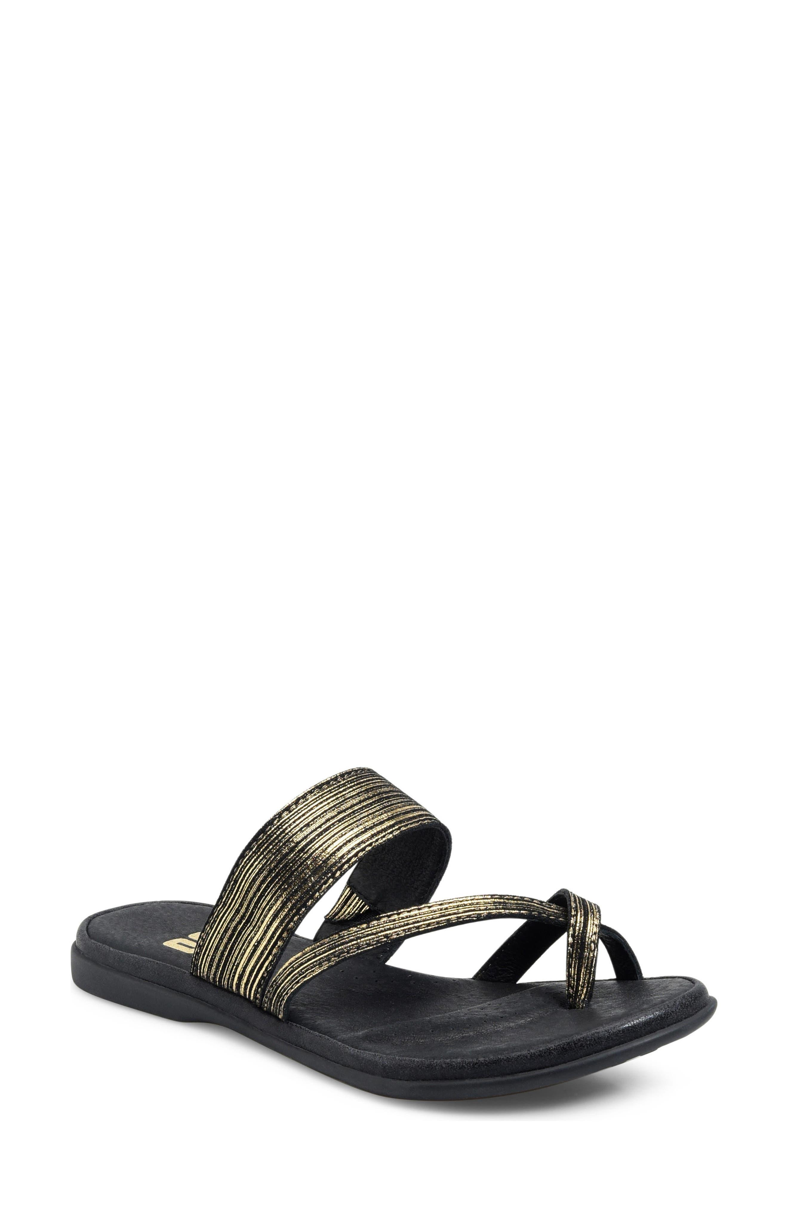 Kia Sandal,                             Main thumbnail 1, color,                             Black/ Gold Leather