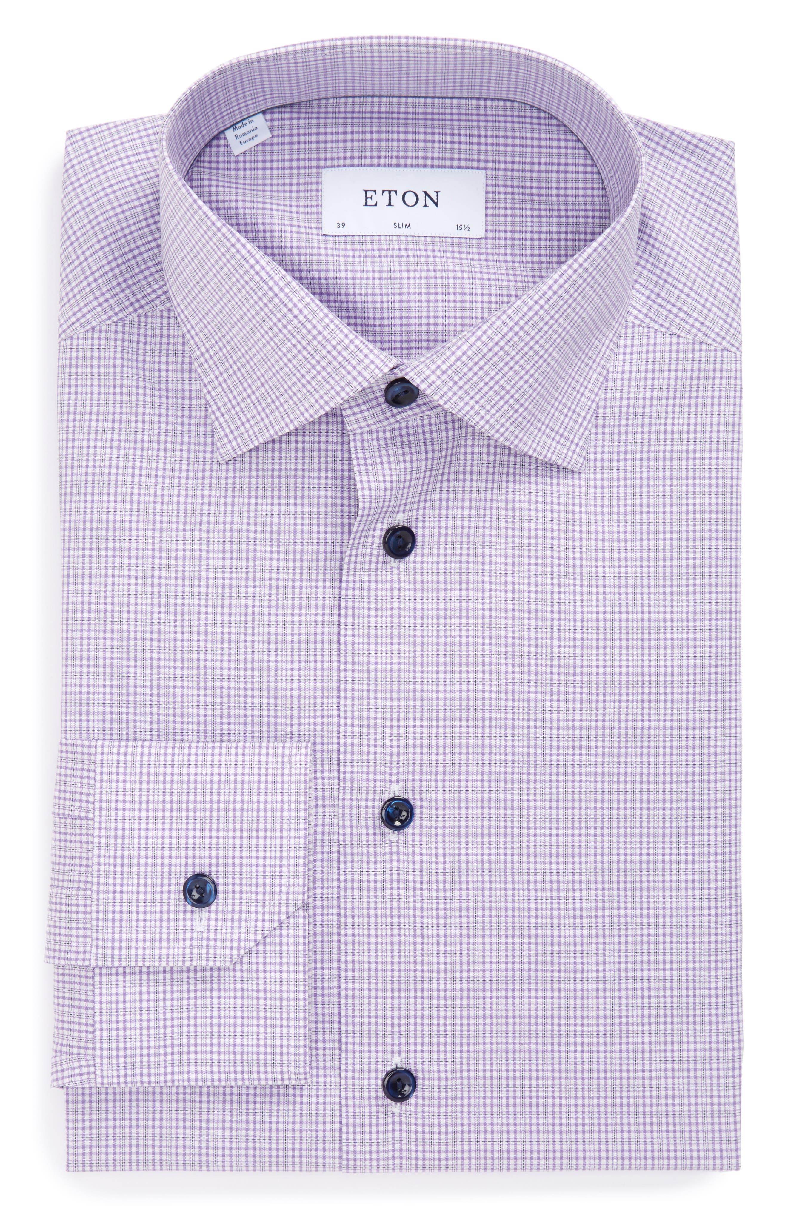 Main Image - Eton Slim Fit Plaid Dress Shirt
