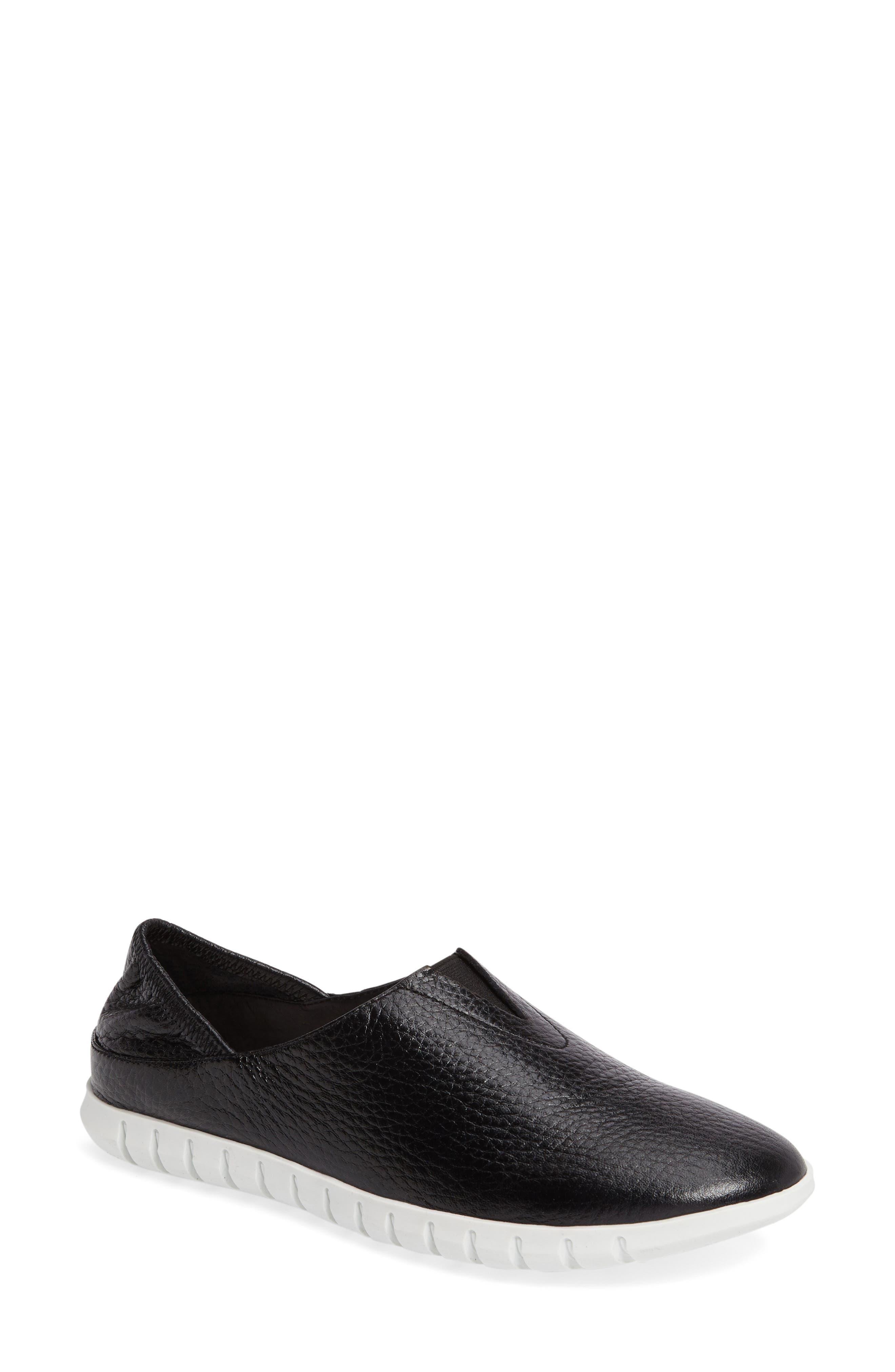 Kim Slip-On Sneaker,                             Main thumbnail 1, color,                             Black Leather