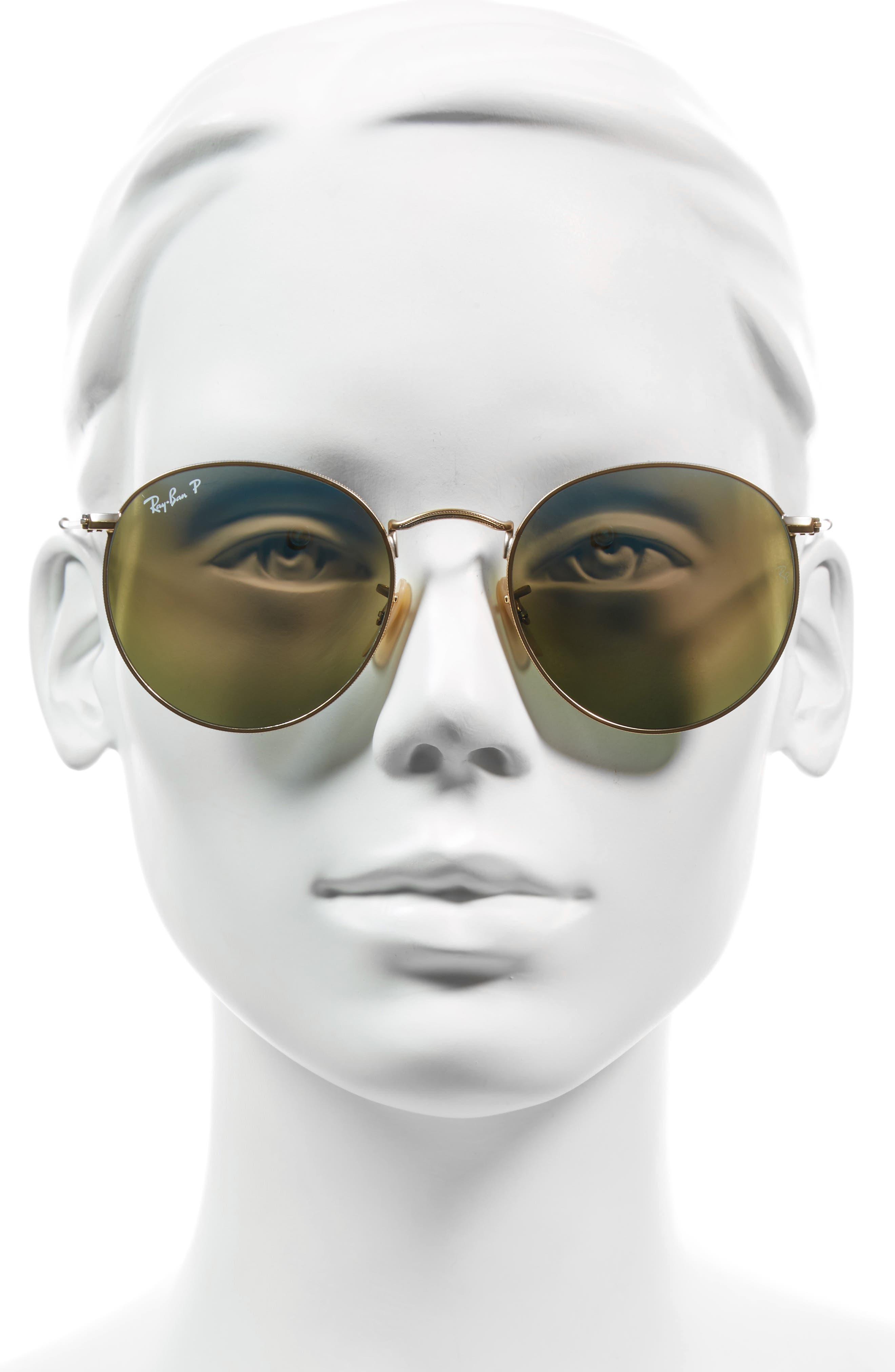 53mm Polarized Round Retro Sunglasses,                             Alternate thumbnail 2, color,                             Blue Mirror