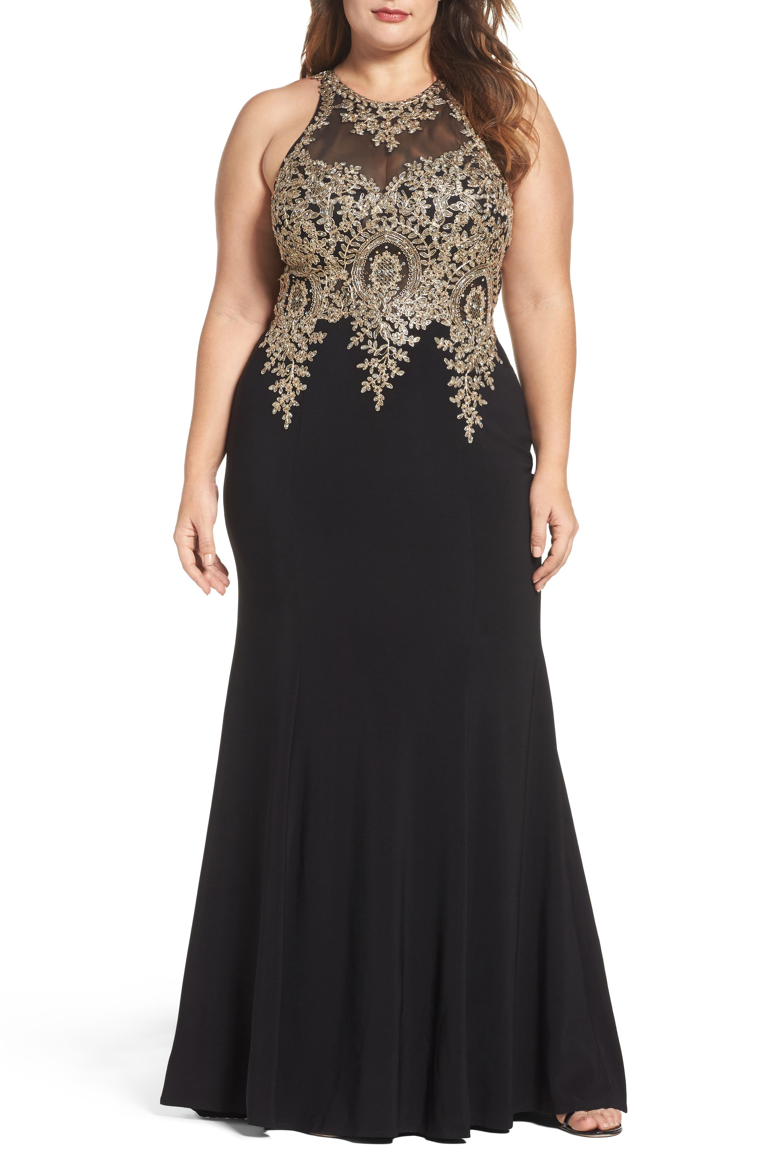 Xscape Embellished Mermaid Gown
