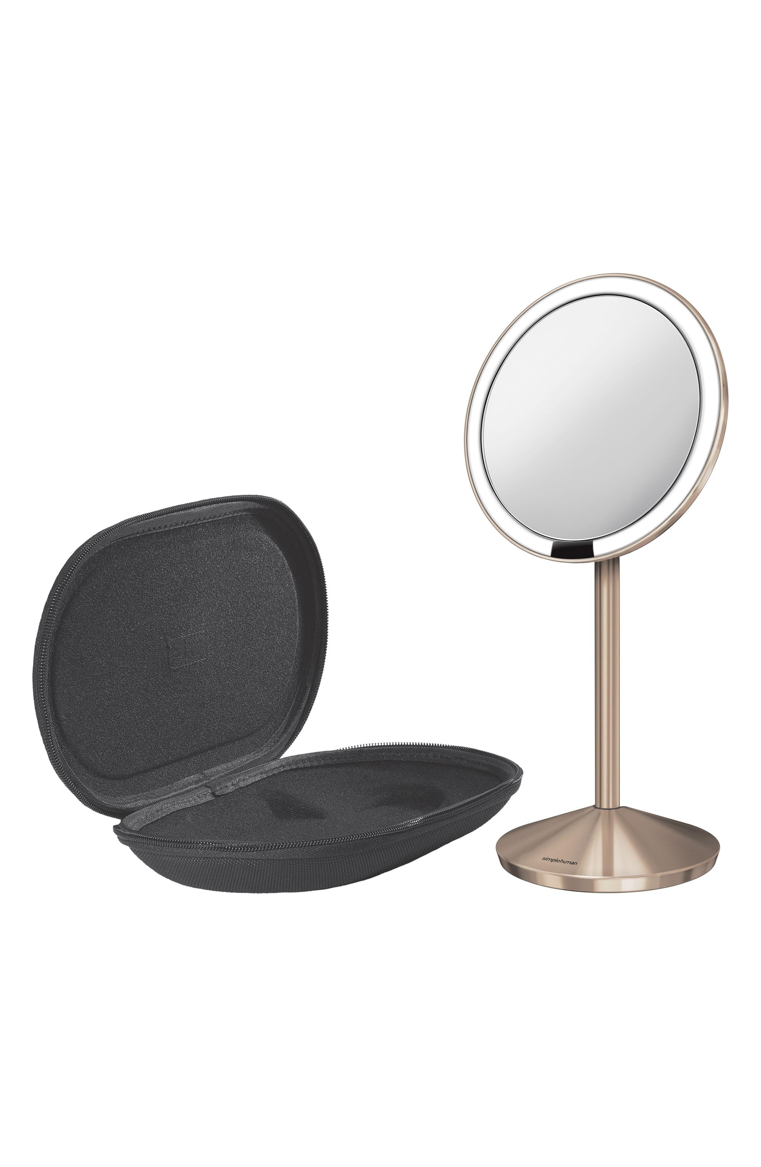 Mini Countertop Sensor Makeup Mirror,                             Alternate thumbnail 4, color,                             Rose Gold