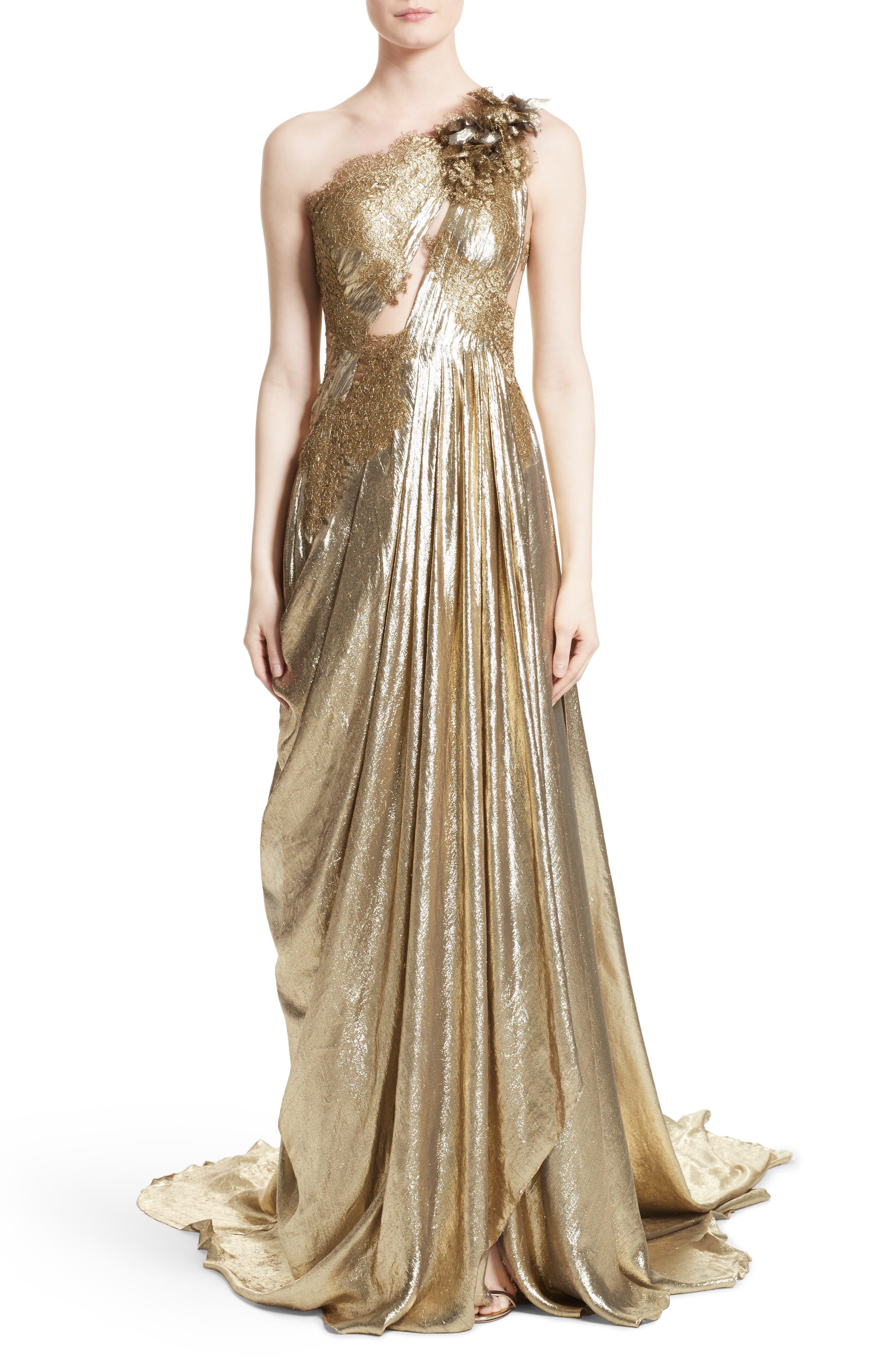 Main Image - Marchesa Metallic Lace & Lamé One-Shoulder Gown