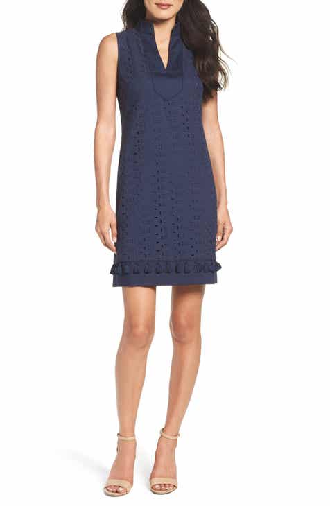 47d7b3a96b9 Eliza J Mandarin Collar Lace Shift Dress